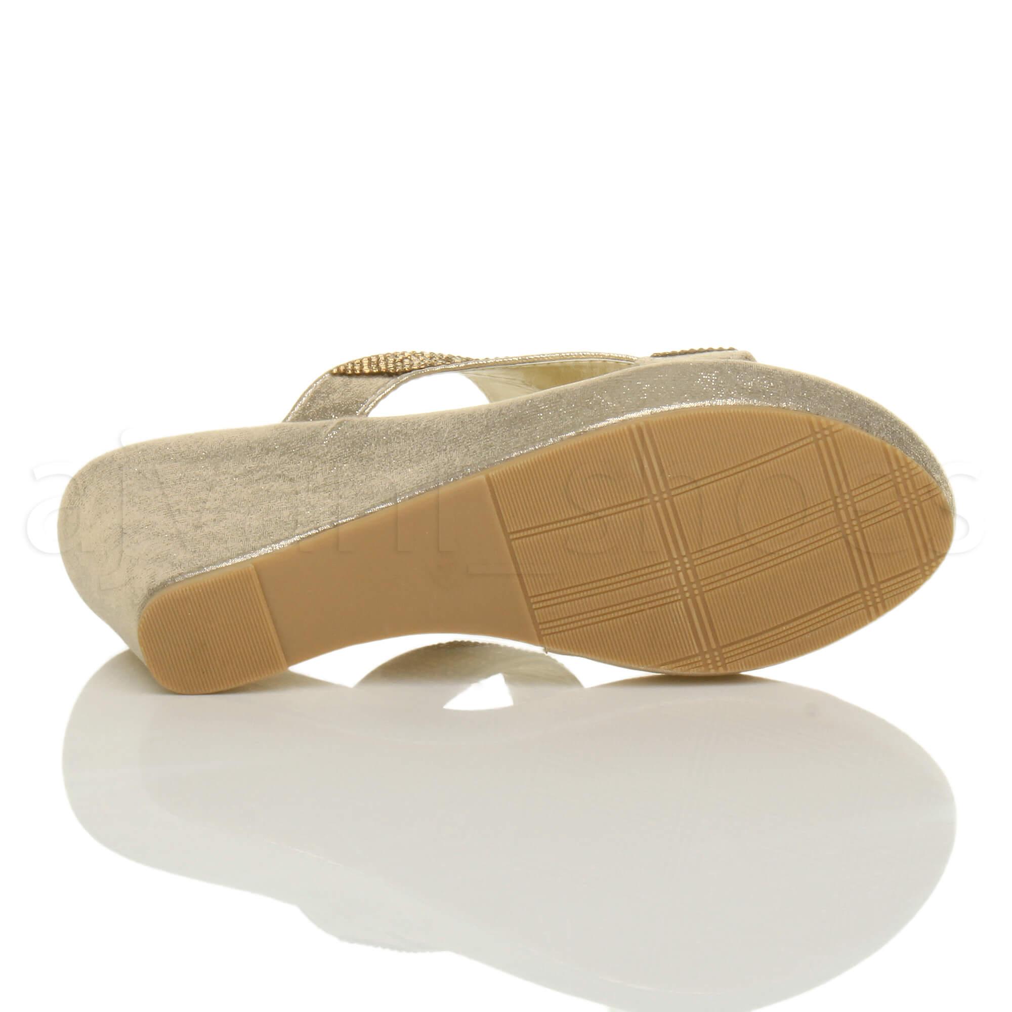 femmes talon haut compens lani res strass soir f te mules sandales pointure ebay. Black Bedroom Furniture Sets. Home Design Ideas