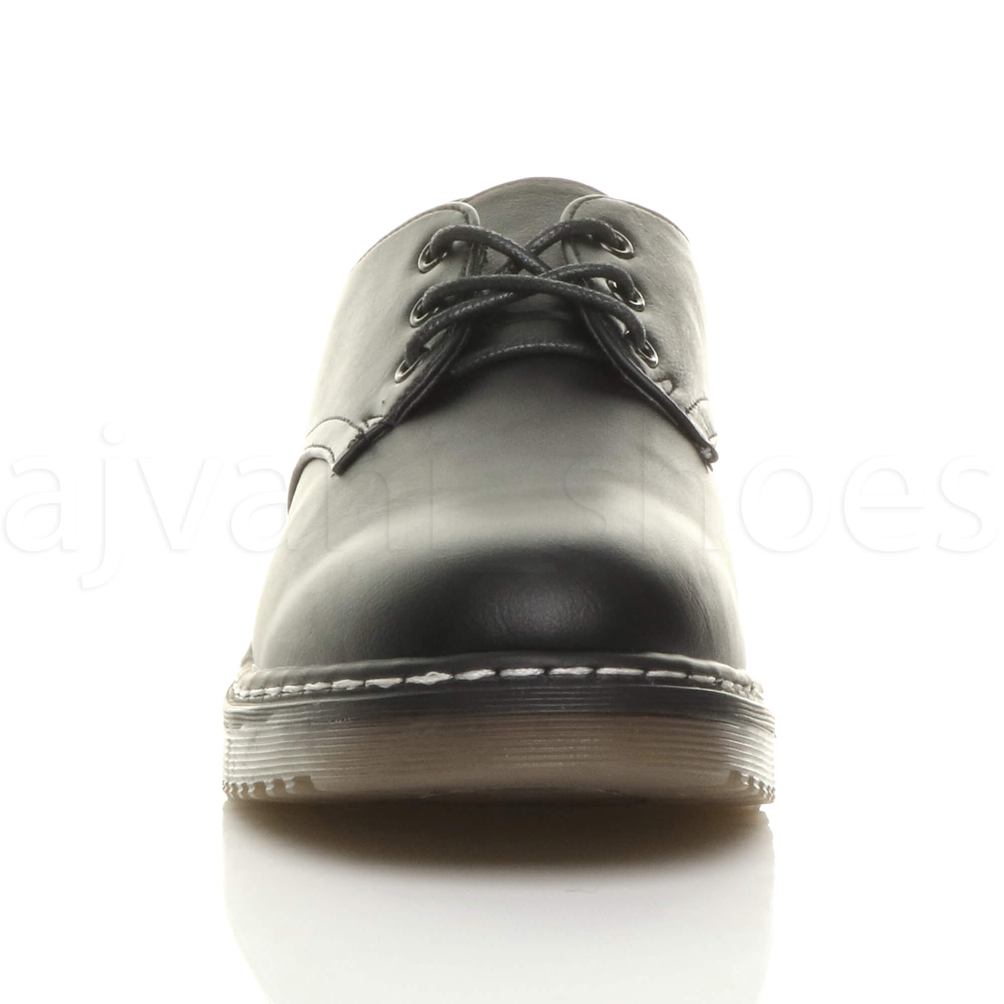 WOMENS-LADIES-LOW-HEEL-CHUNKY-MILITARY-GOTH-GRUNGE-90s-LACE-UP-OXFORD-SHOES-SIZE thumbnail 7