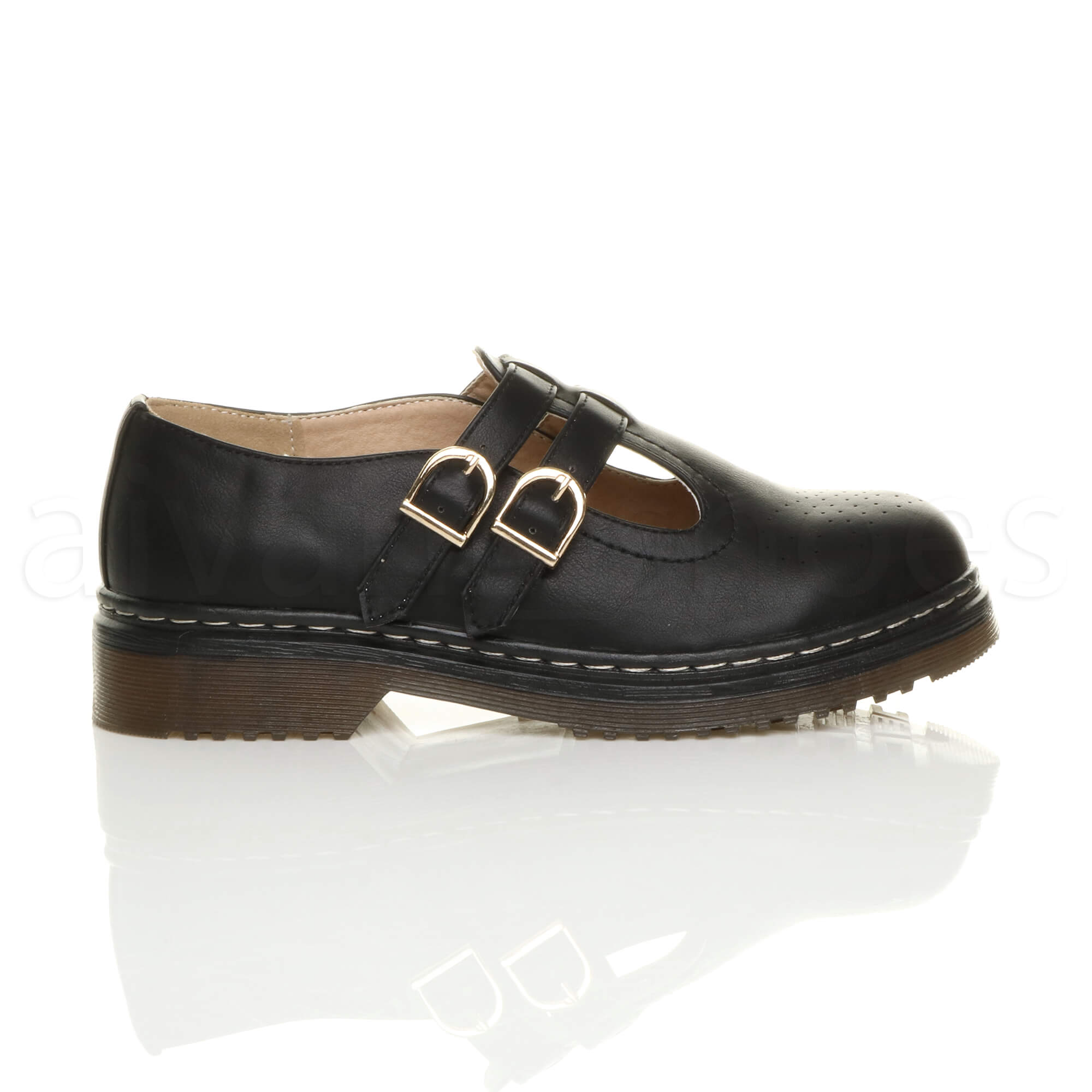 WOMENS-LADIES-LOW-HEEL-MARY-JANE-DOUBLE-STRAP-BUCKLE-CHUNKY-BROGUES-SHOES-SIZE