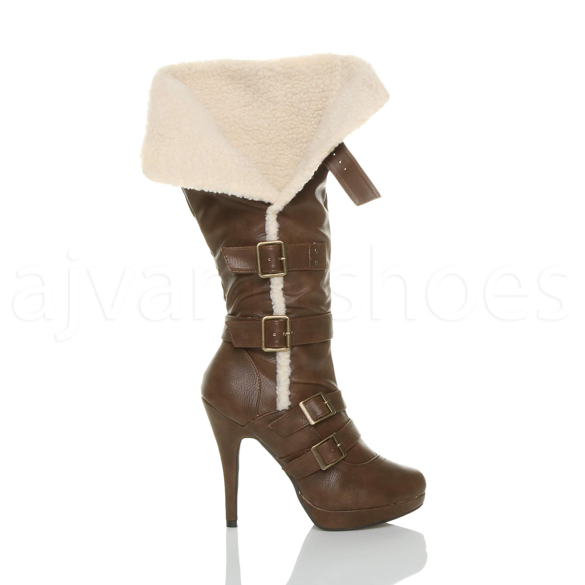 WOMENS-LADIES-HIGH-HEEL-BUCKLE-AVIATOR-SHEARLING-FUR-WINTER-CALF-KNEE-BOOTS-SIZE