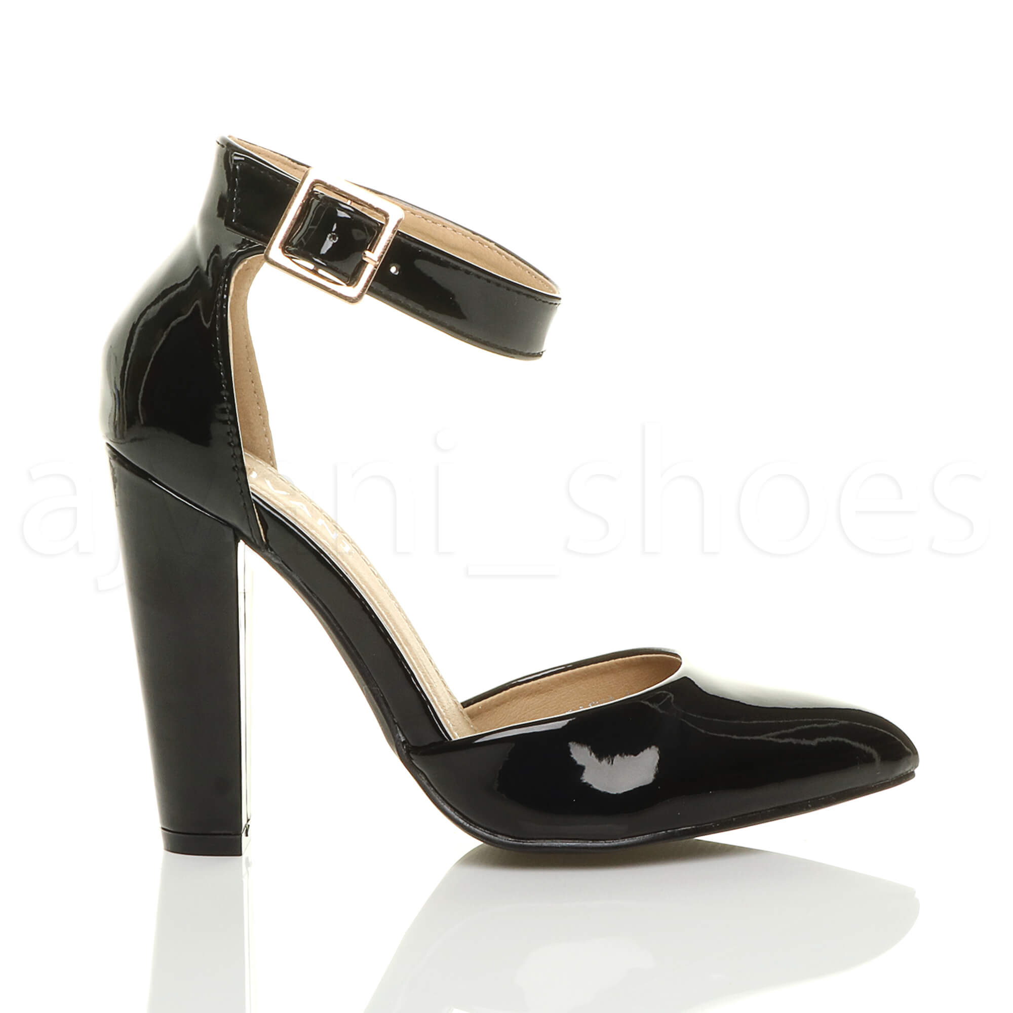 WOMENS-LADIES-HIGH-BLOCK-HEEL-ANKLE-STRAP-BUCKLE-POINTED-COURT-SHOES-SIZE thumbnail 10