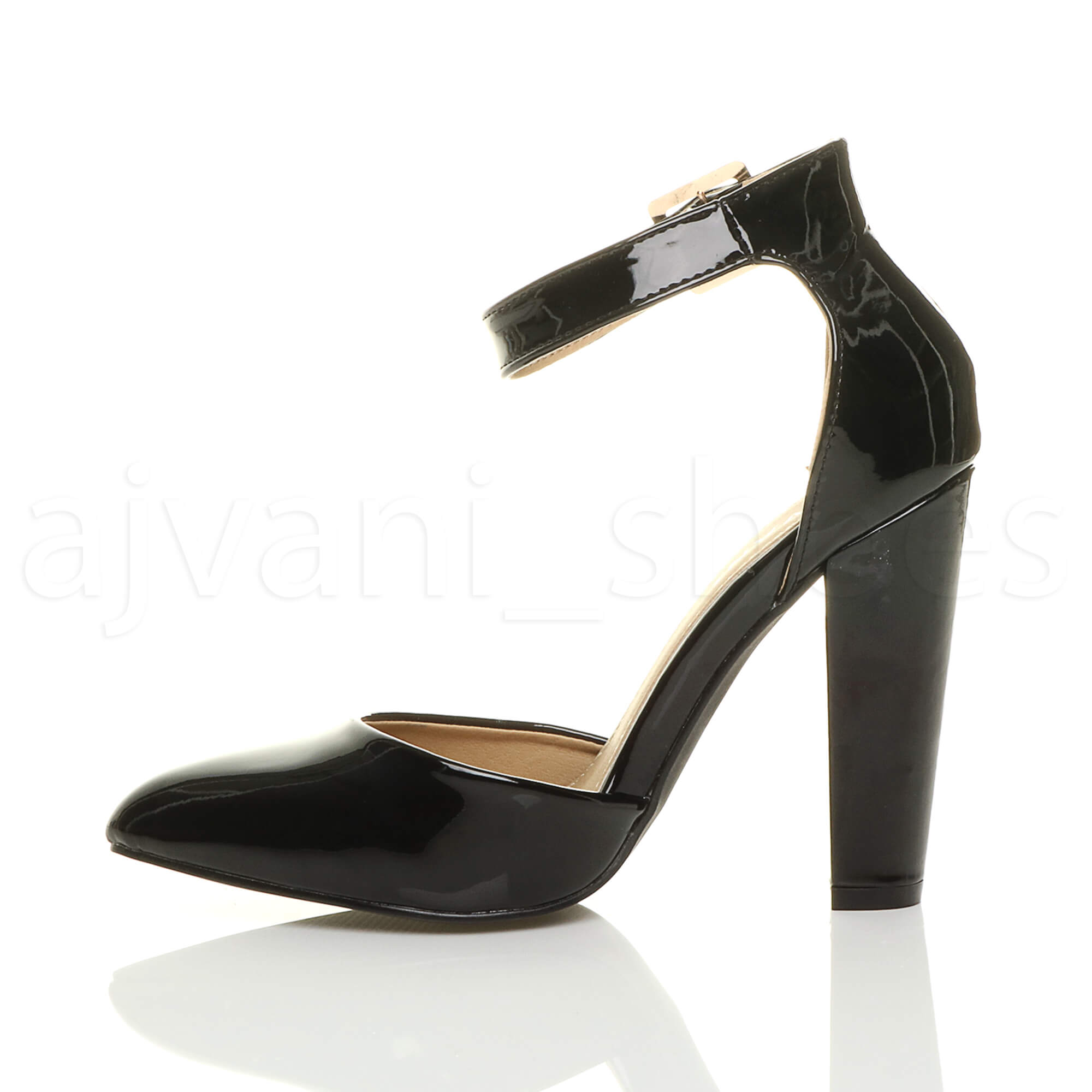 WOMENS-LADIES-HIGH-BLOCK-HEEL-ANKLE-STRAP-BUCKLE-POINTED-COURT-SHOES-SIZE thumbnail 11