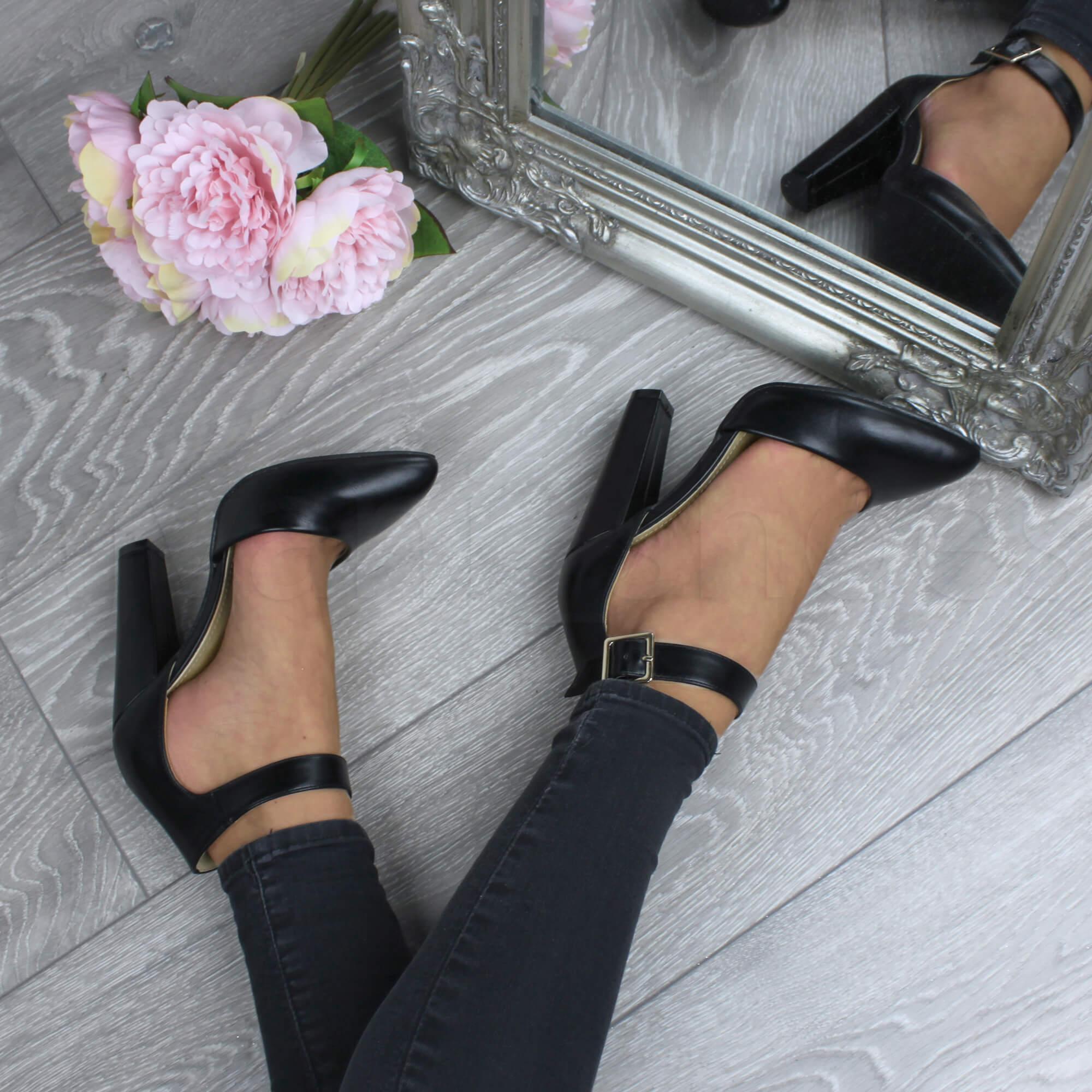 Mujeres-tacon-alto-bloque-hebilla-puntiagudas-zapatos-de-salon-escarpines-talla