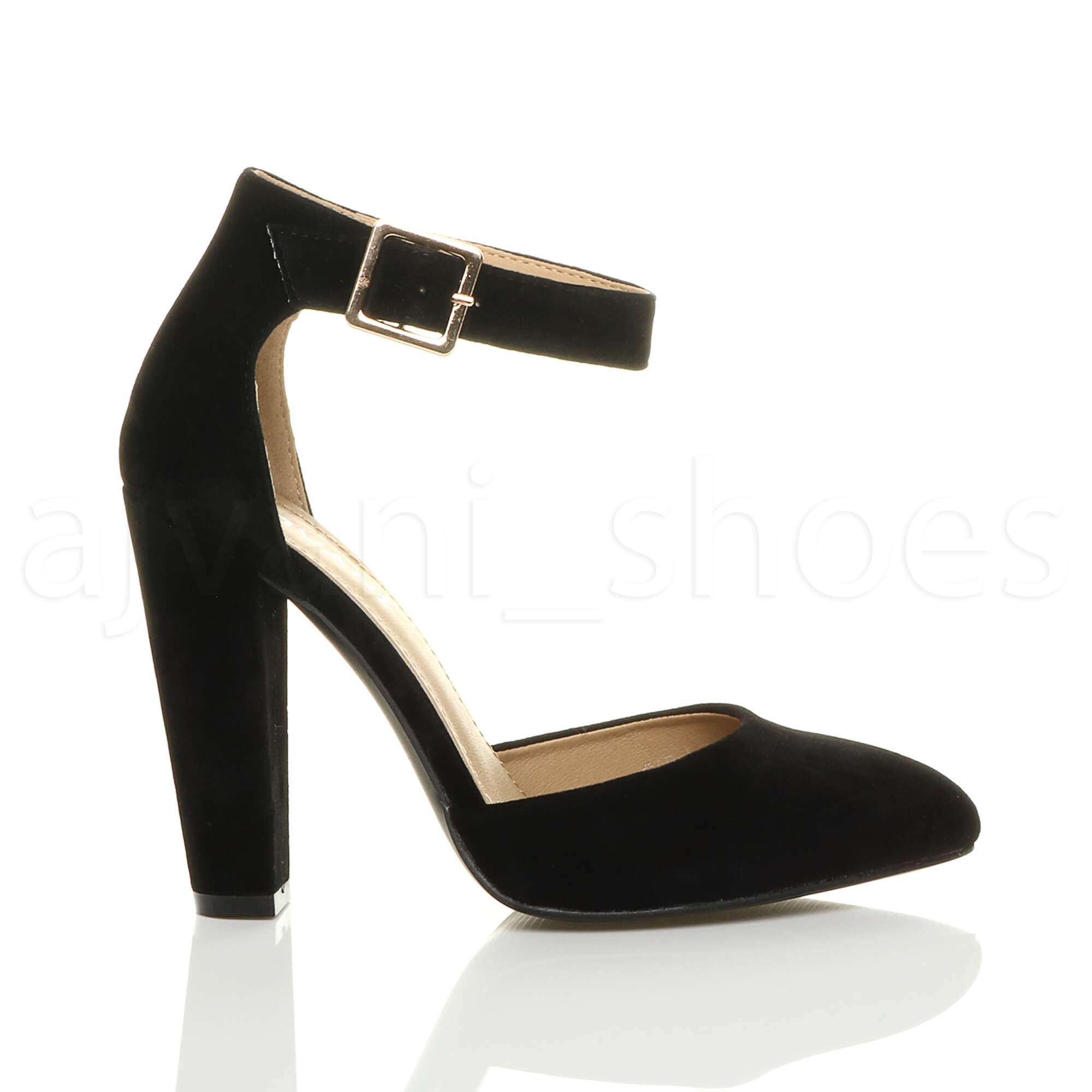 WOMENS-LADIES-HIGH-BLOCK-HEEL-ANKLE-STRAP-BUCKLE-POINTED-COURT-SHOES-SIZE thumbnail 17