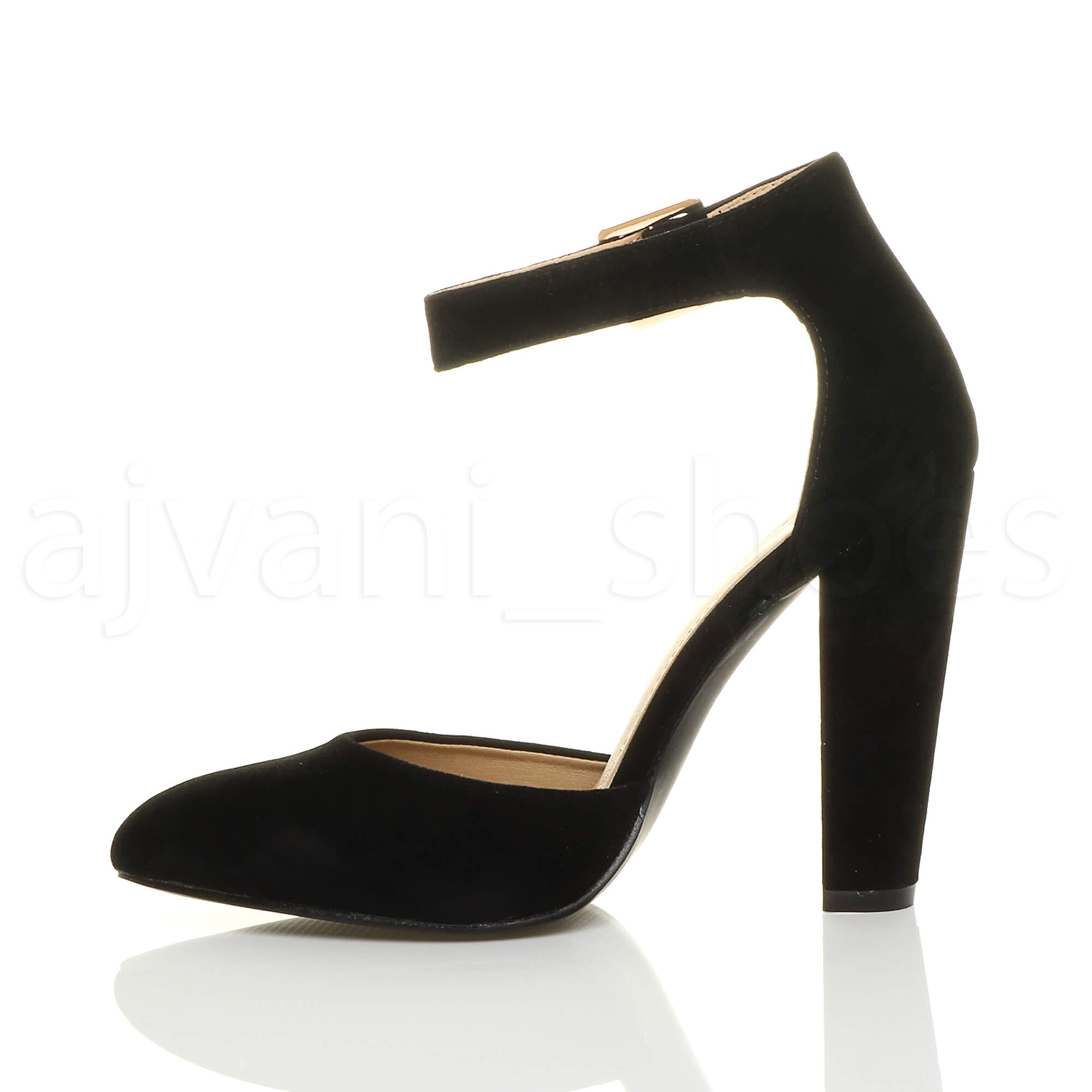 WOMENS-LADIES-HIGH-BLOCK-HEEL-ANKLE-STRAP-BUCKLE-POINTED-COURT-SHOES-SIZE thumbnail 18