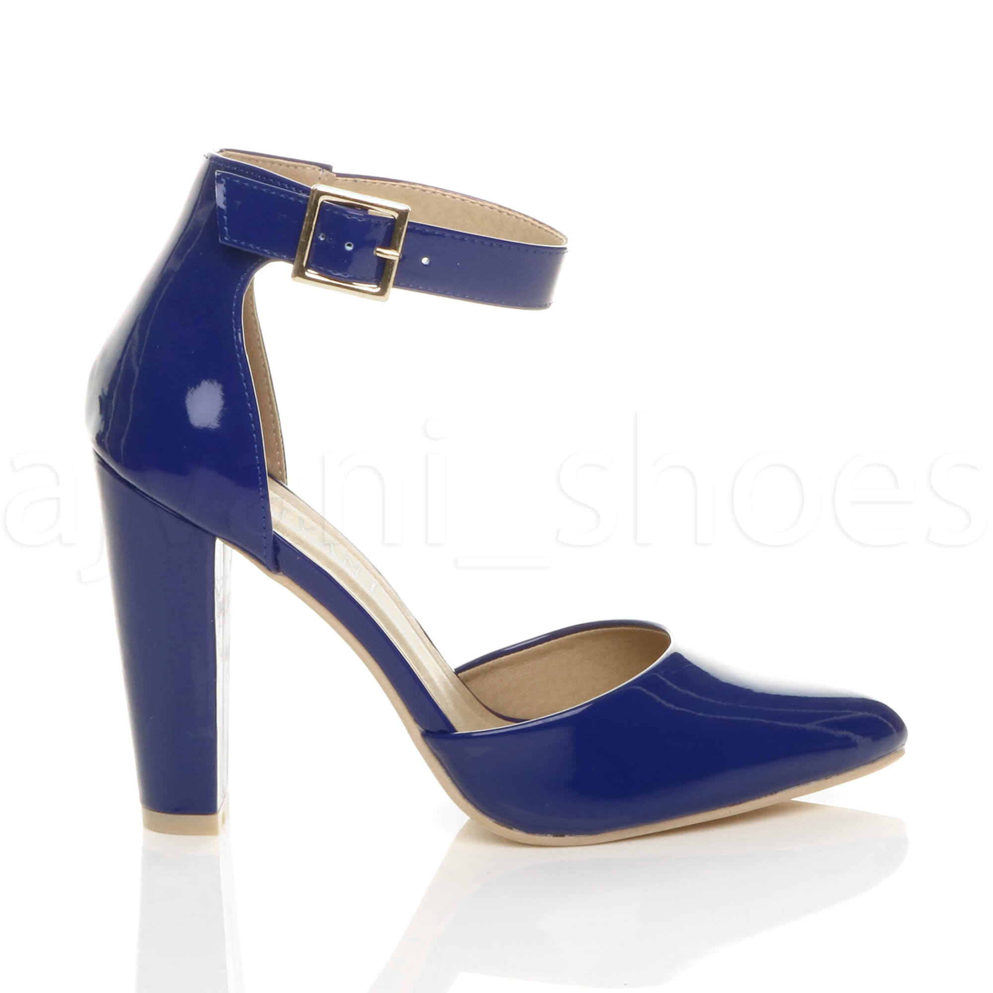 WOMENS-LADIES-HIGH-BLOCK-HEEL-ANKLE-STRAP-BUCKLE-POINTED-COURT-SHOES-SIZE thumbnail 31