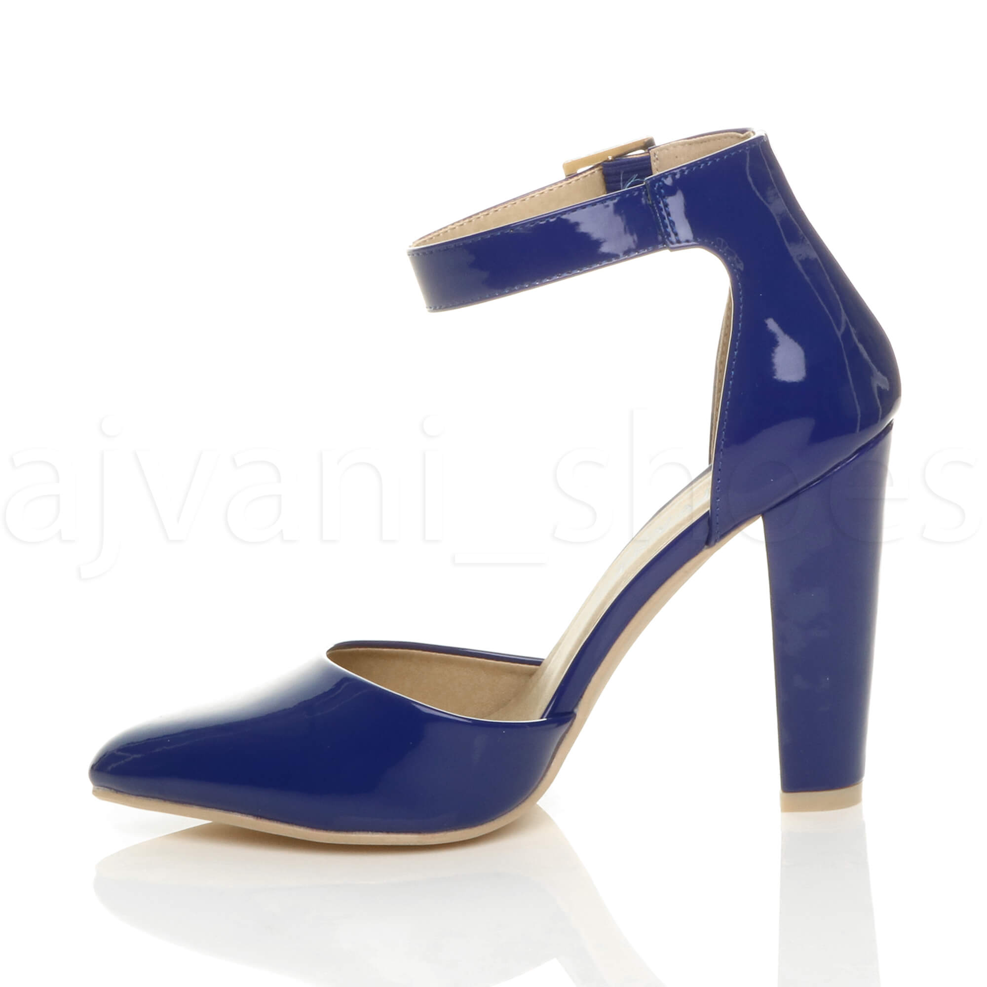 WOMENS-LADIES-HIGH-BLOCK-HEEL-ANKLE-STRAP-BUCKLE-POINTED-COURT-SHOES-SIZE thumbnail 32