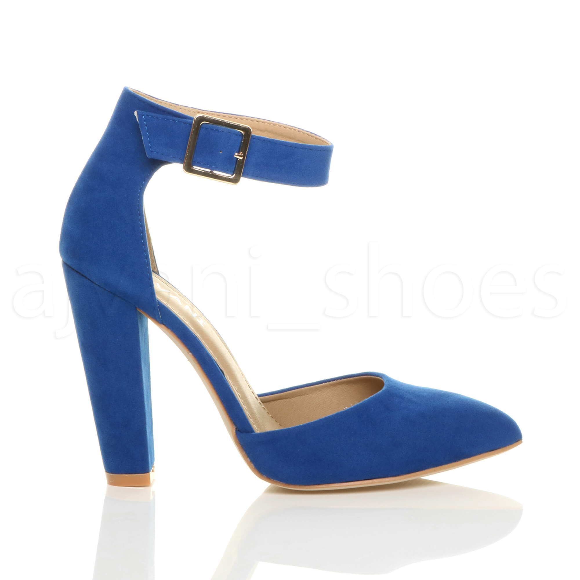 WOMENS-LADIES-HIGH-BLOCK-HEEL-ANKLE-STRAP-BUCKLE-POINTED-COURT-SHOES-SIZE thumbnail 24