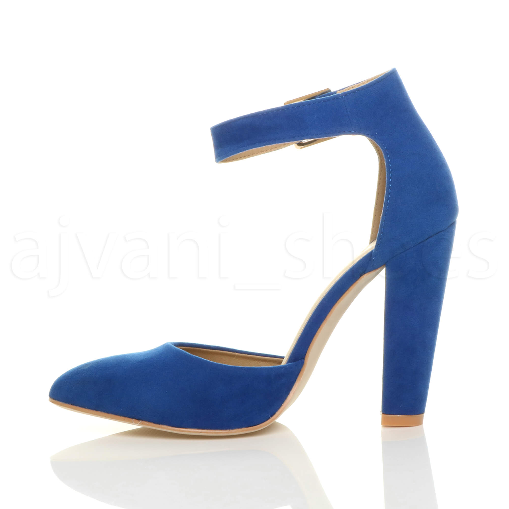 WOMENS-LADIES-HIGH-BLOCK-HEEL-ANKLE-STRAP-BUCKLE-POINTED-COURT-SHOES-SIZE thumbnail 25