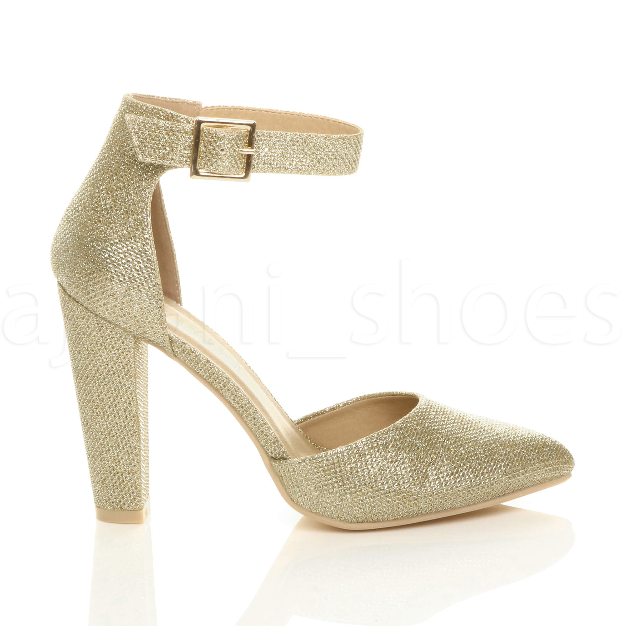 WOMENS-LADIES-HIGH-BLOCK-HEEL-ANKLE-STRAP-BUCKLE-POINTED-COURT-SHOES-SIZE thumbnail 73