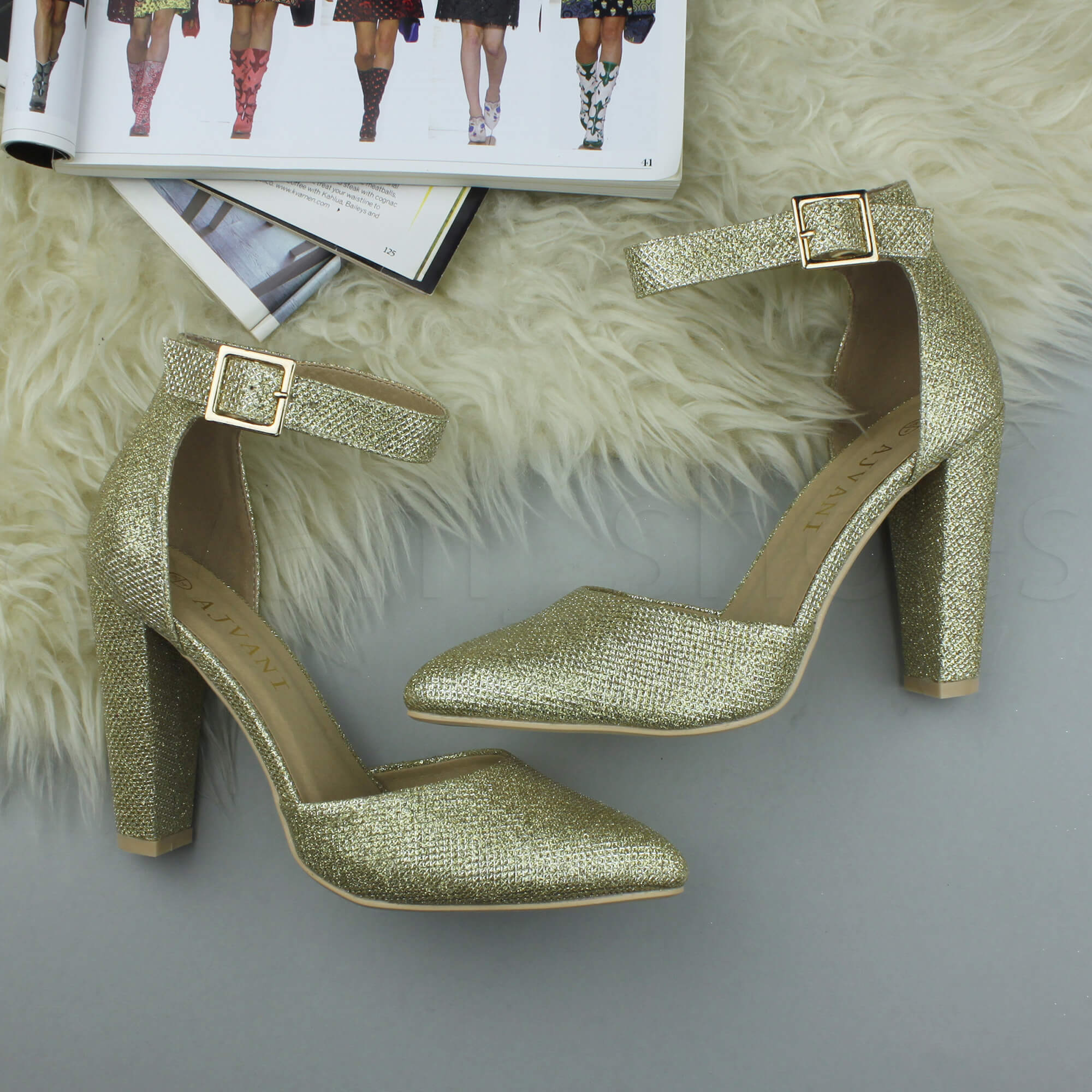 WOMENS-LADIES-HIGH-BLOCK-HEEL-ANKLE-STRAP-BUCKLE-POINTED-COURT-SHOES-SIZE thumbnail 75