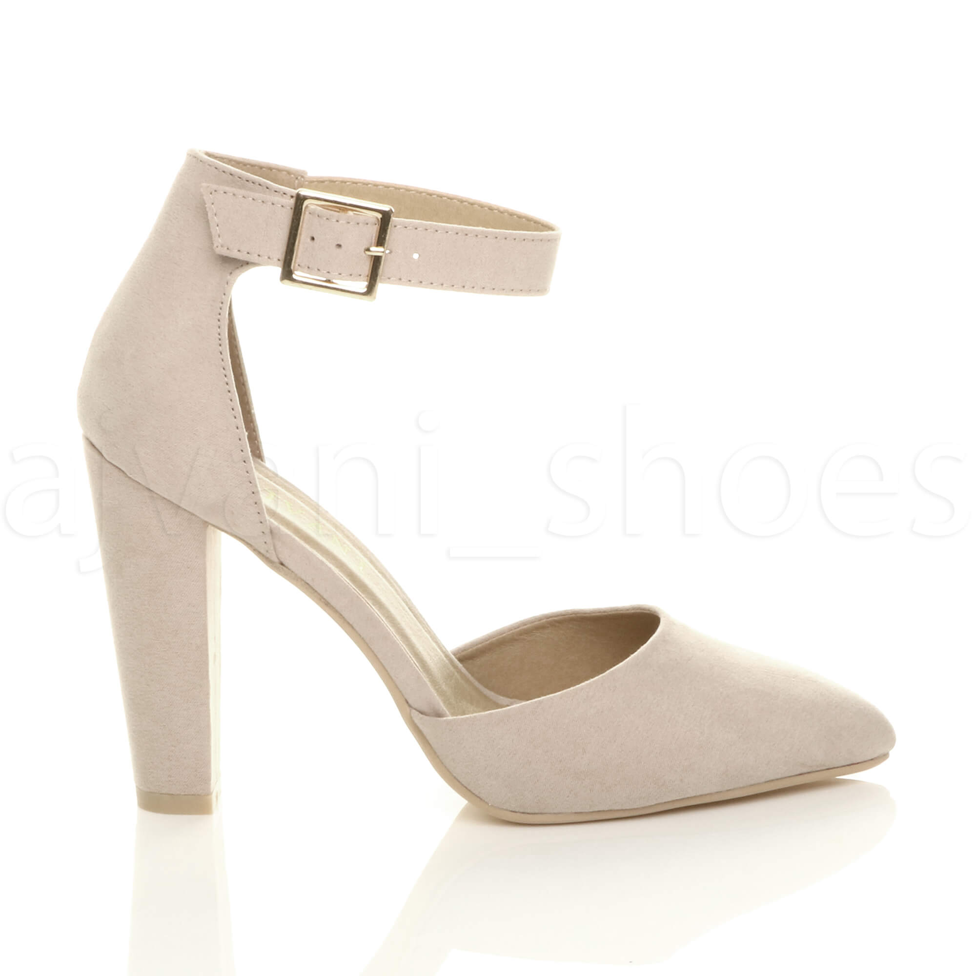 WOMENS-LADIES-HIGH-BLOCK-HEEL-ANKLE-STRAP-BUCKLE-POINTED-COURT-SHOES-SIZE thumbnail 3