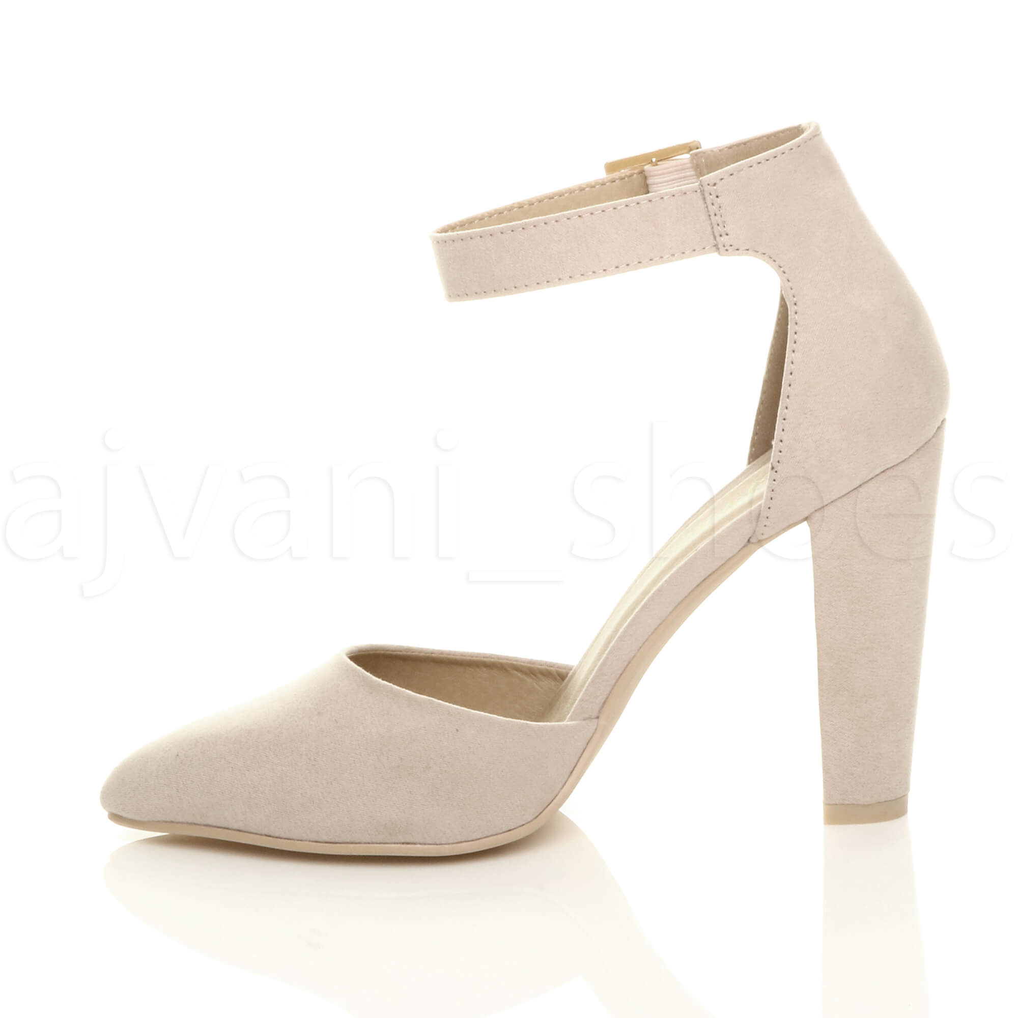 WOMENS-LADIES-HIGH-BLOCK-HEEL-ANKLE-STRAP-BUCKLE-POINTED-COURT-SHOES-SIZE thumbnail 4