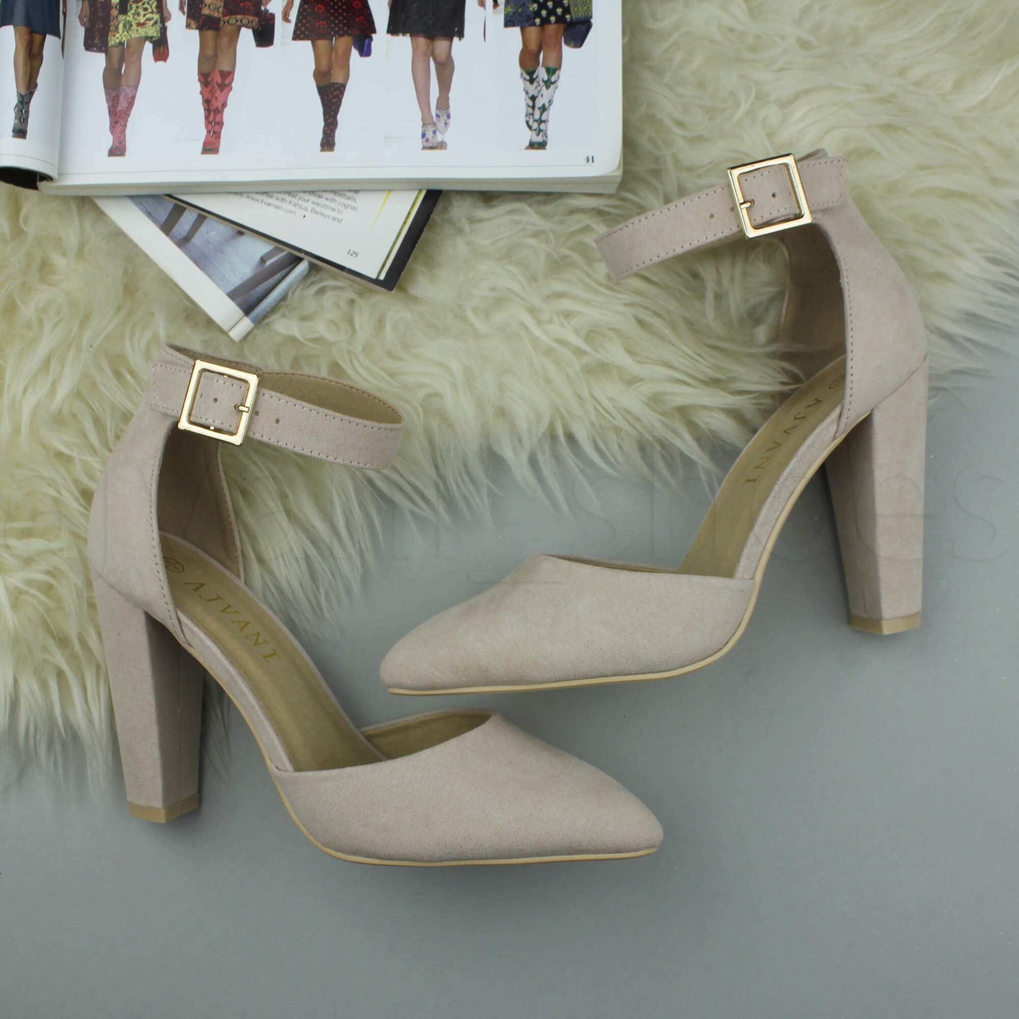 WOMENS-LADIES-HIGH-BLOCK-HEEL-ANKLE-STRAP-BUCKLE-POINTED-COURT-SHOES-SIZE thumbnail 5