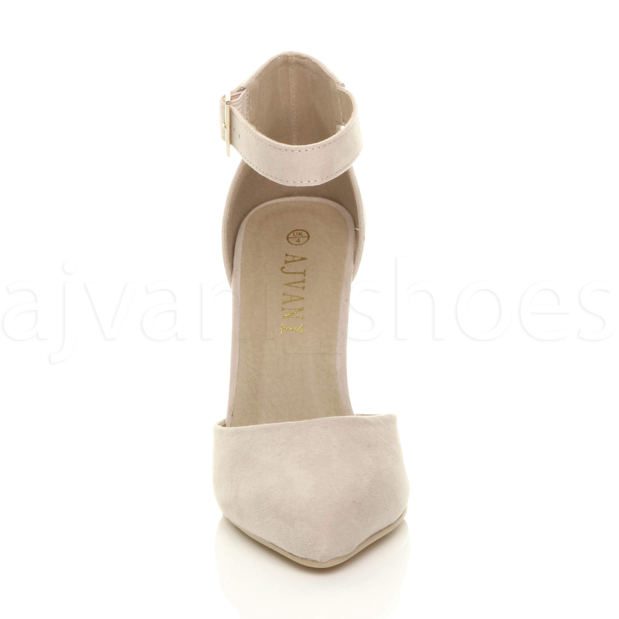 WOMENS-LADIES-HIGH-BLOCK-HEEL-ANKLE-STRAP-BUCKLE-POINTED-COURT-SHOES-SIZE thumbnail 6