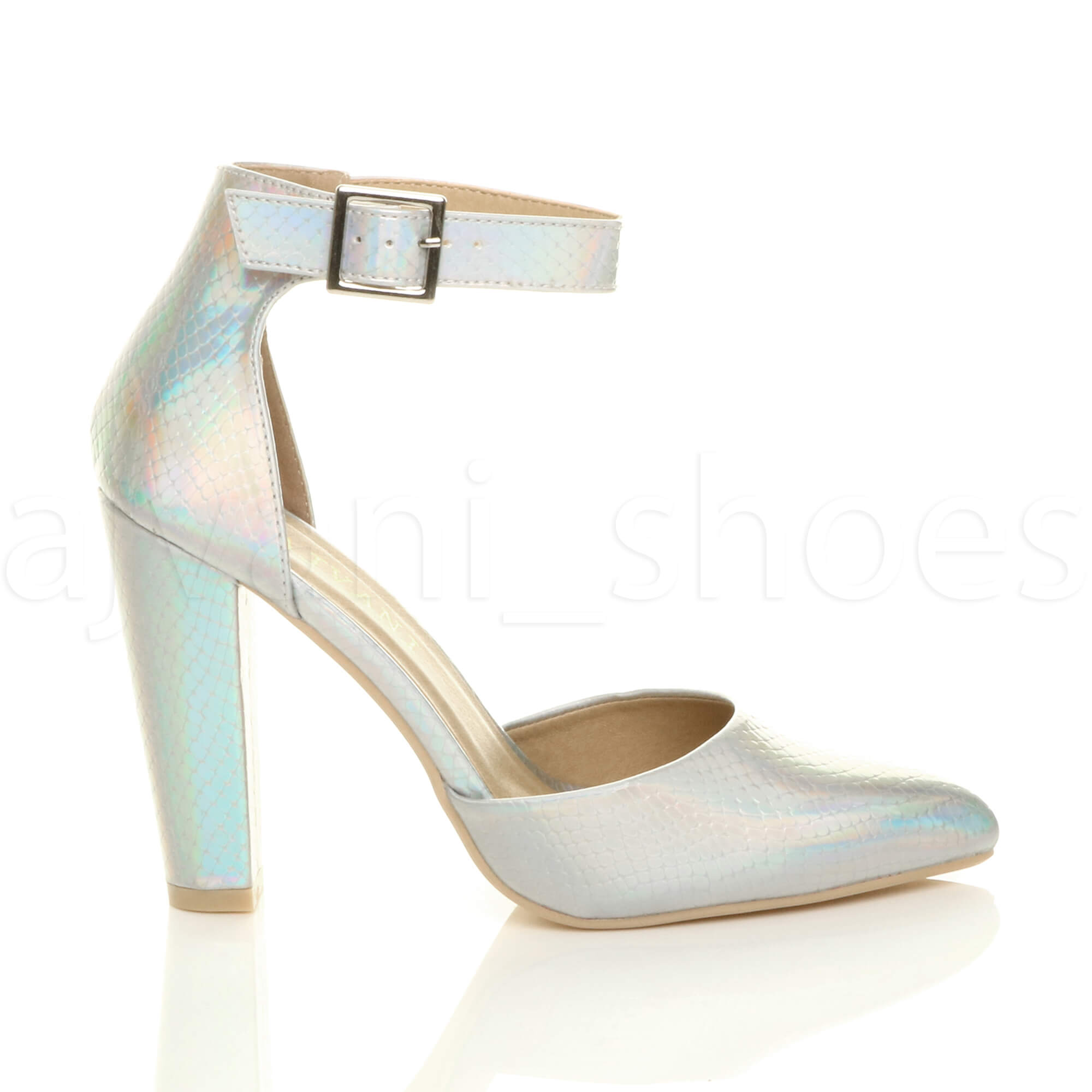 WOMENS-LADIES-HIGH-BLOCK-HEEL-ANKLE-STRAP-BUCKLE-POINTED-COURT-SHOES-SIZE thumbnail 164