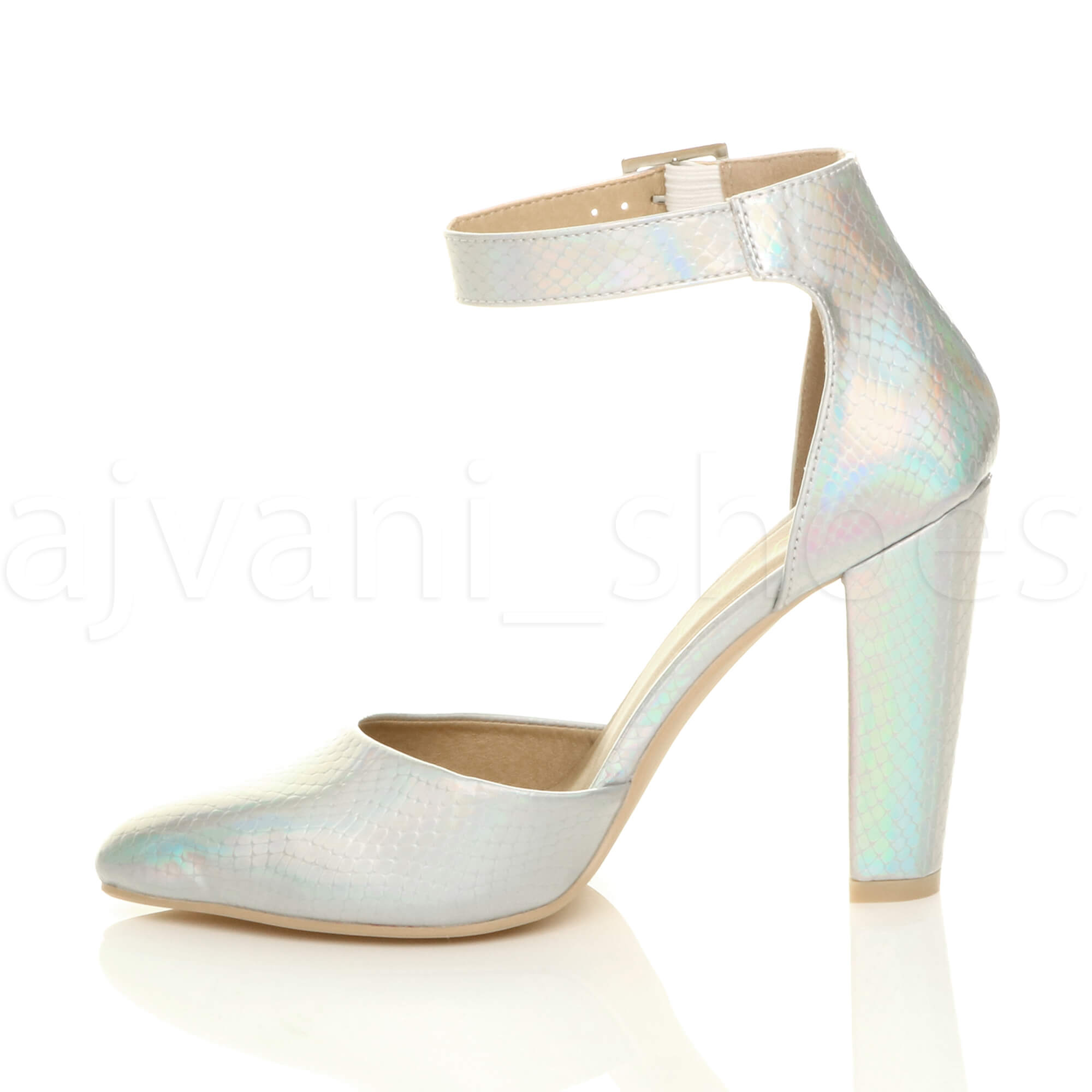 WOMENS-LADIES-HIGH-BLOCK-HEEL-ANKLE-STRAP-BUCKLE-POINTED-COURT-SHOES-SIZE thumbnail 165