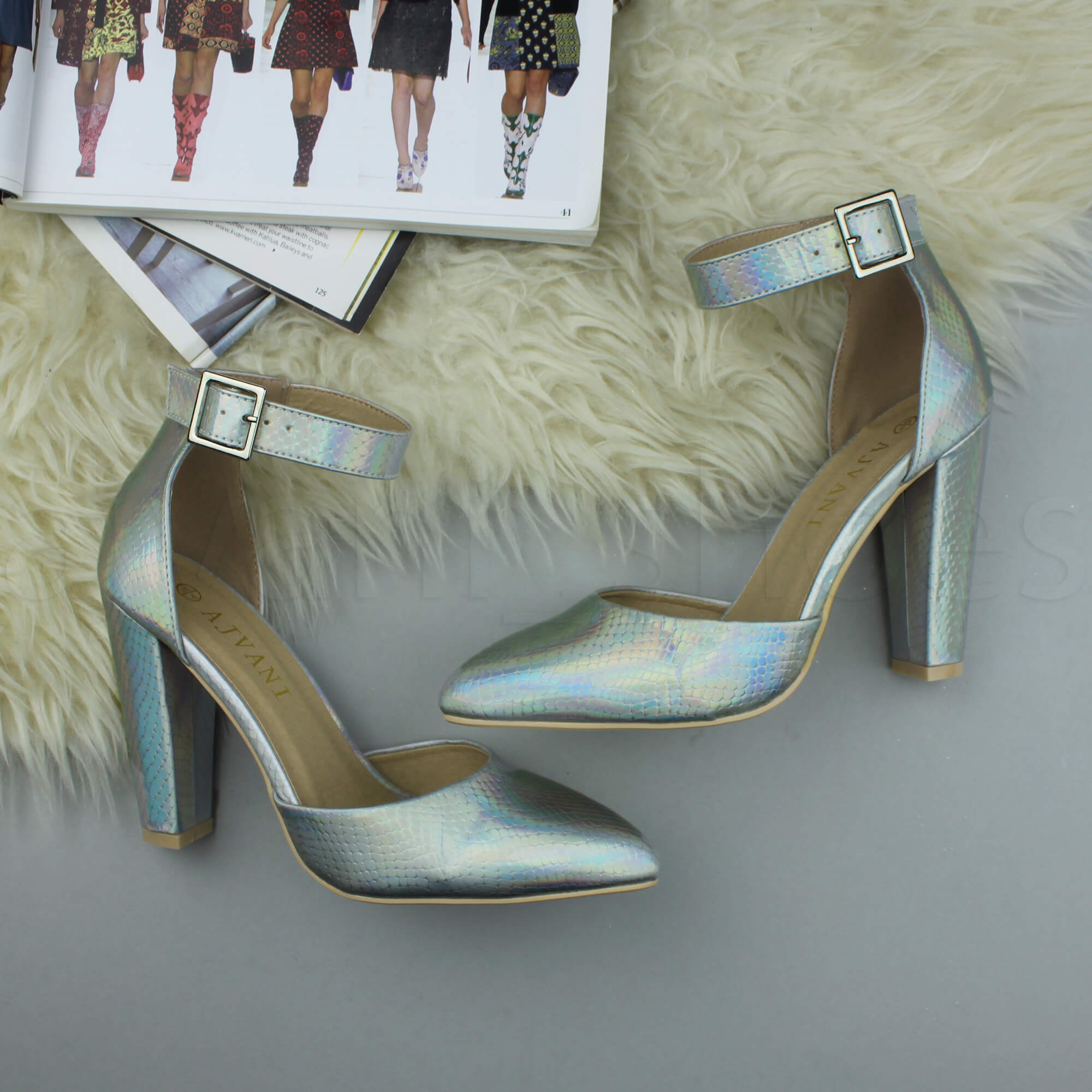 WOMENS-LADIES-HIGH-BLOCK-HEEL-ANKLE-STRAP-BUCKLE-POINTED-COURT-SHOES-SIZE thumbnail 166