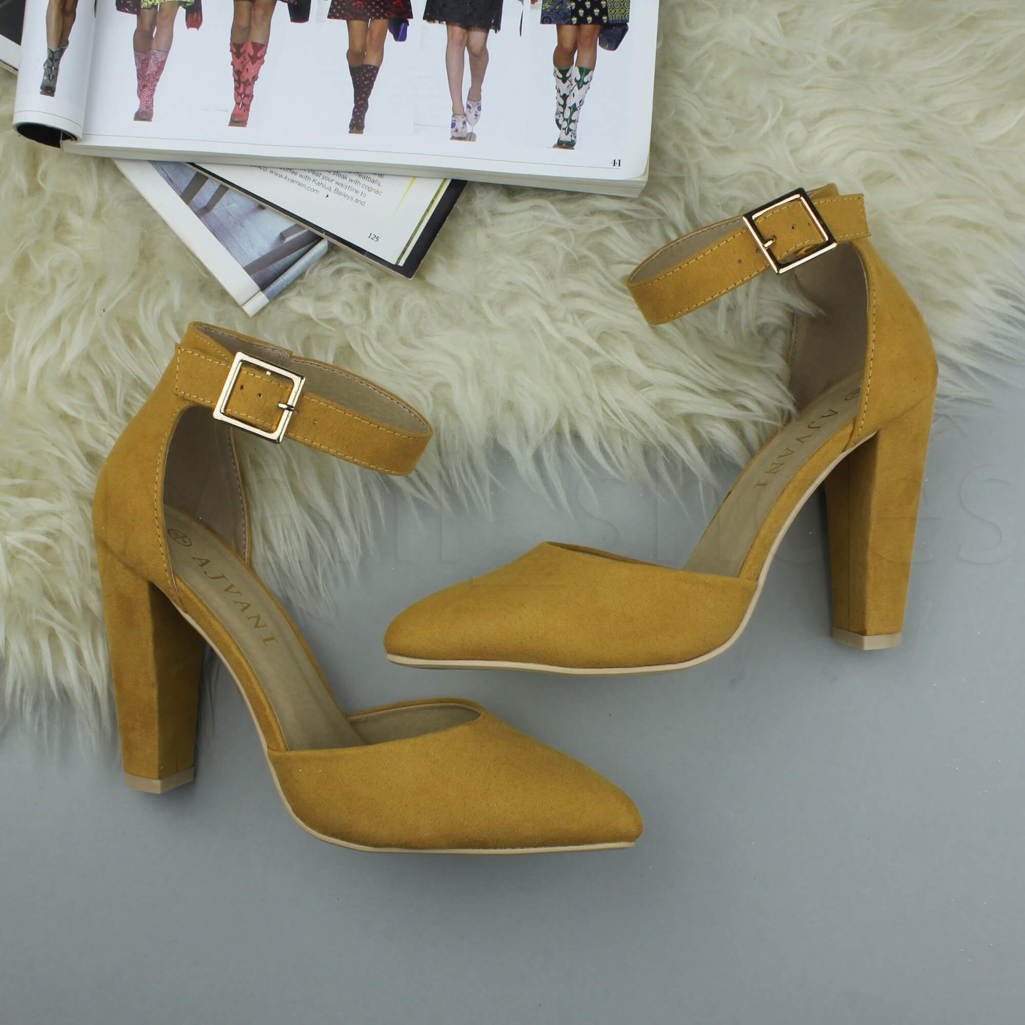 WOMENS-LADIES-HIGH-BLOCK-HEEL-ANKLE-STRAP-BUCKLE-POINTED-COURT-SHOES-SIZE thumbnail 89
