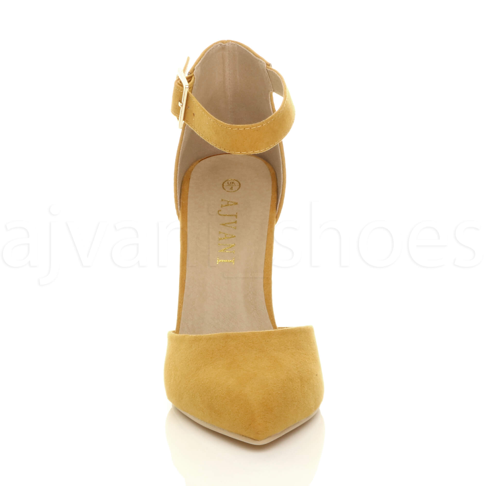 WOMENS-LADIES-HIGH-BLOCK-HEEL-ANKLE-STRAP-BUCKLE-POINTED-COURT-SHOES-SIZE thumbnail 90