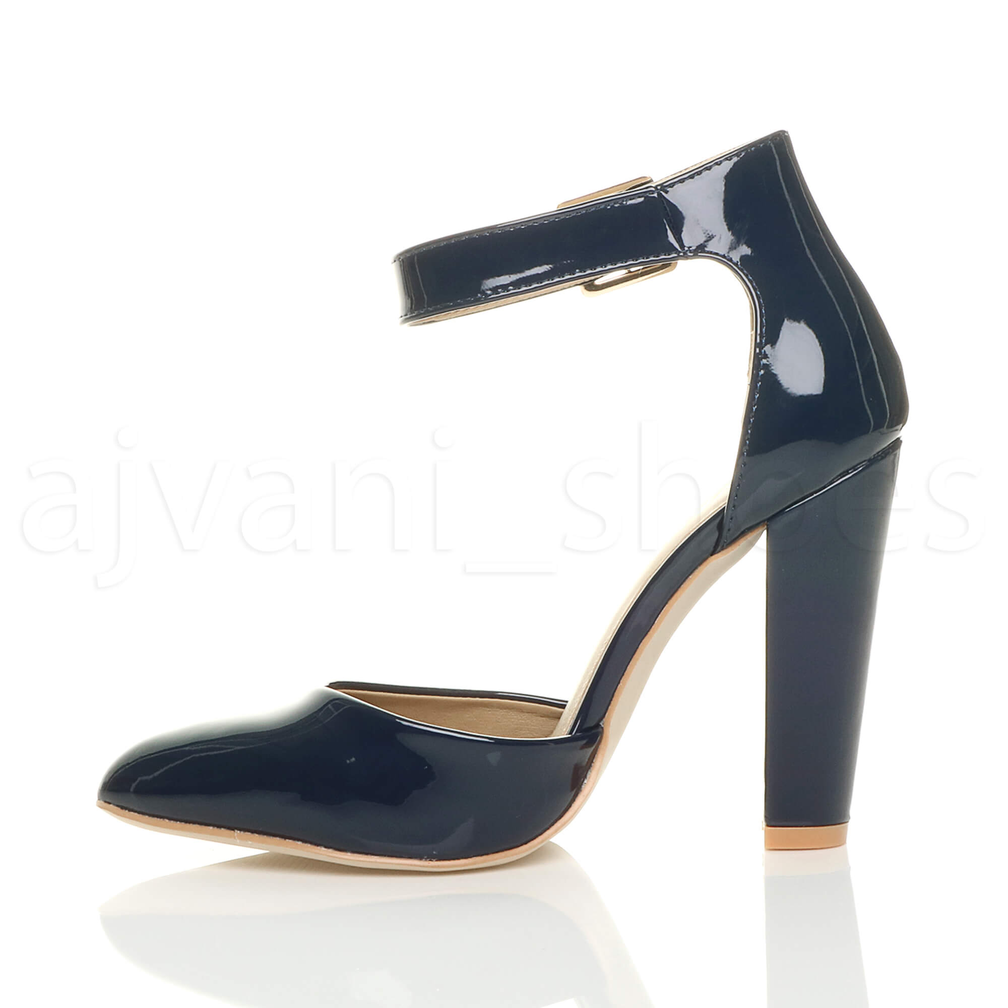 WOMENS-LADIES-HIGH-BLOCK-HEEL-ANKLE-STRAP-BUCKLE-POINTED-COURT-SHOES-SIZE thumbnail 74