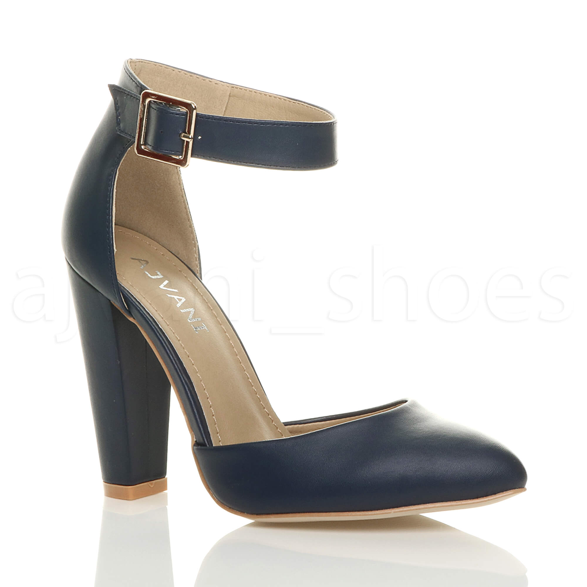 WOMENS-LADIES-HIGH-BLOCK-HEEL-ANKLE-STRAP-BUCKLE-POINTED-COURT-SHOES-SIZE