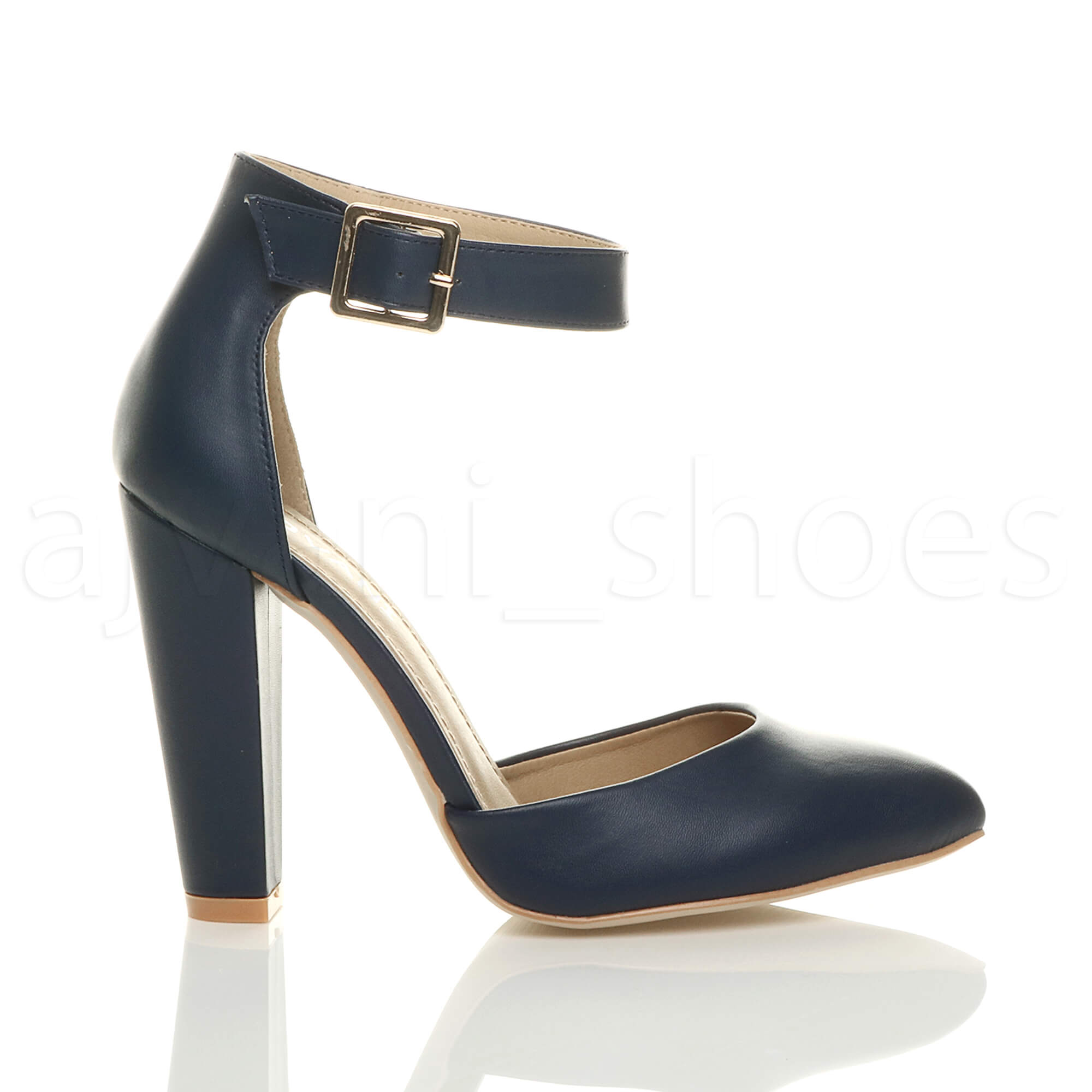 WOMENS-LADIES-HIGH-BLOCK-HEEL-ANKLE-STRAP-BUCKLE-POINTED-COURT-SHOES-SIZE thumbnail 66