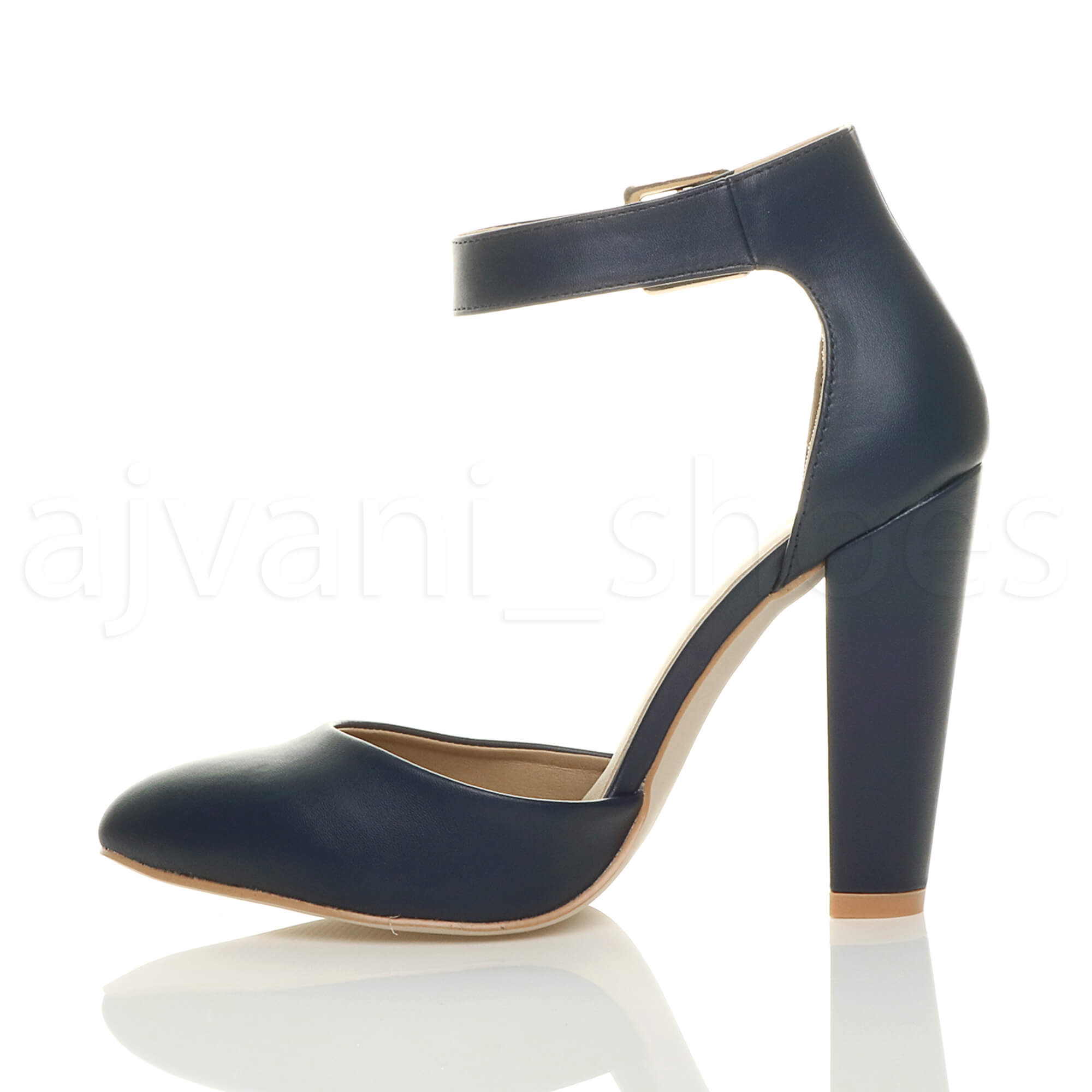 WOMENS-LADIES-HIGH-BLOCK-HEEL-ANKLE-STRAP-BUCKLE-POINTED-COURT-SHOES-SIZE thumbnail 67
