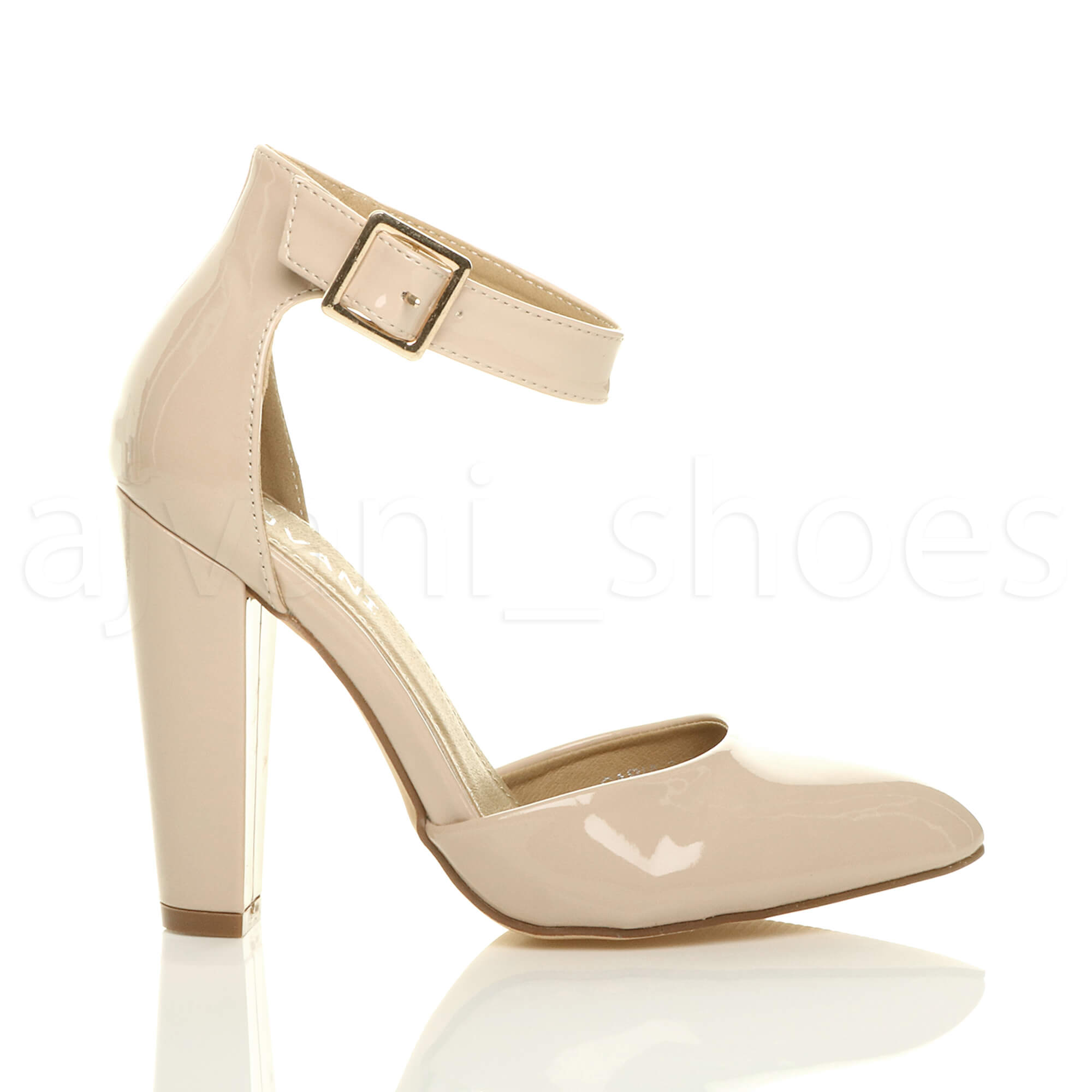 WOMENS-LADIES-HIGH-BLOCK-HEEL-ANKLE-STRAP-BUCKLE-POINTED-COURT-SHOES-SIZE thumbnail 87