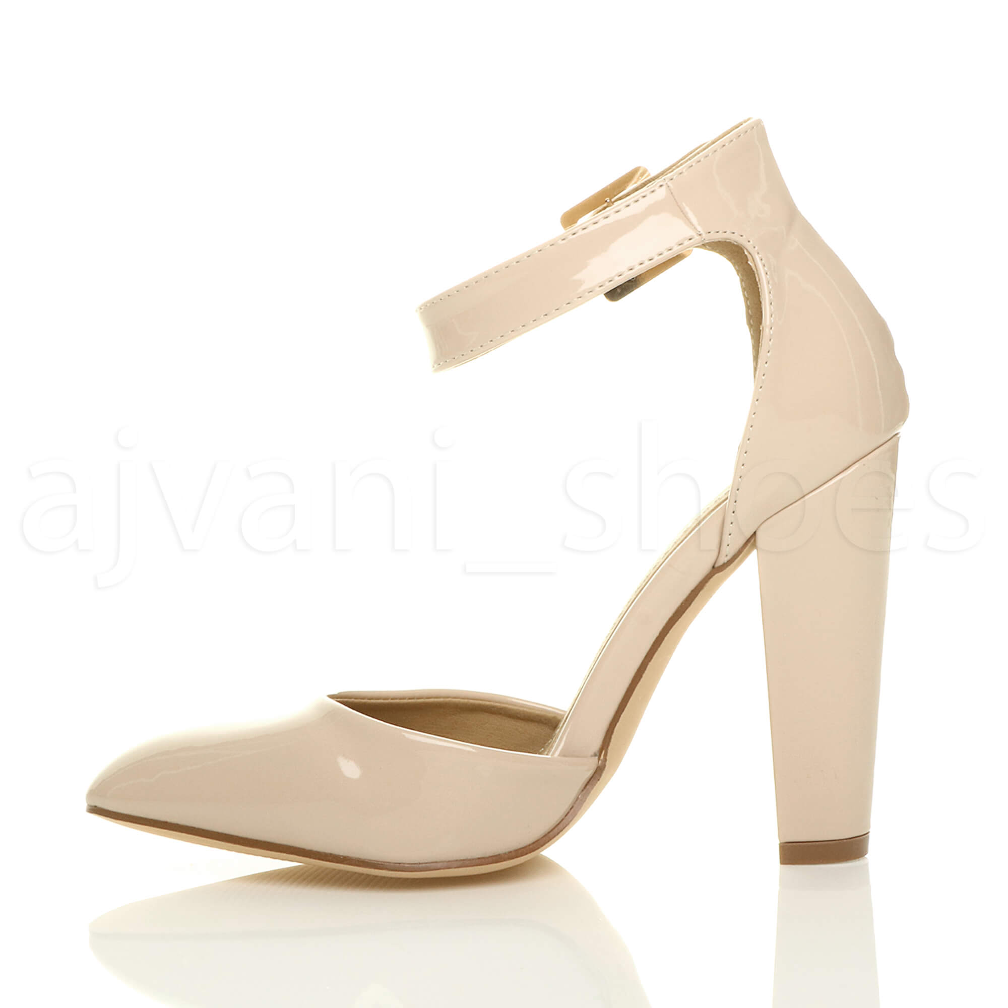 WOMENS-LADIES-HIGH-BLOCK-HEEL-ANKLE-STRAP-BUCKLE-POINTED-COURT-SHOES-SIZE thumbnail 88