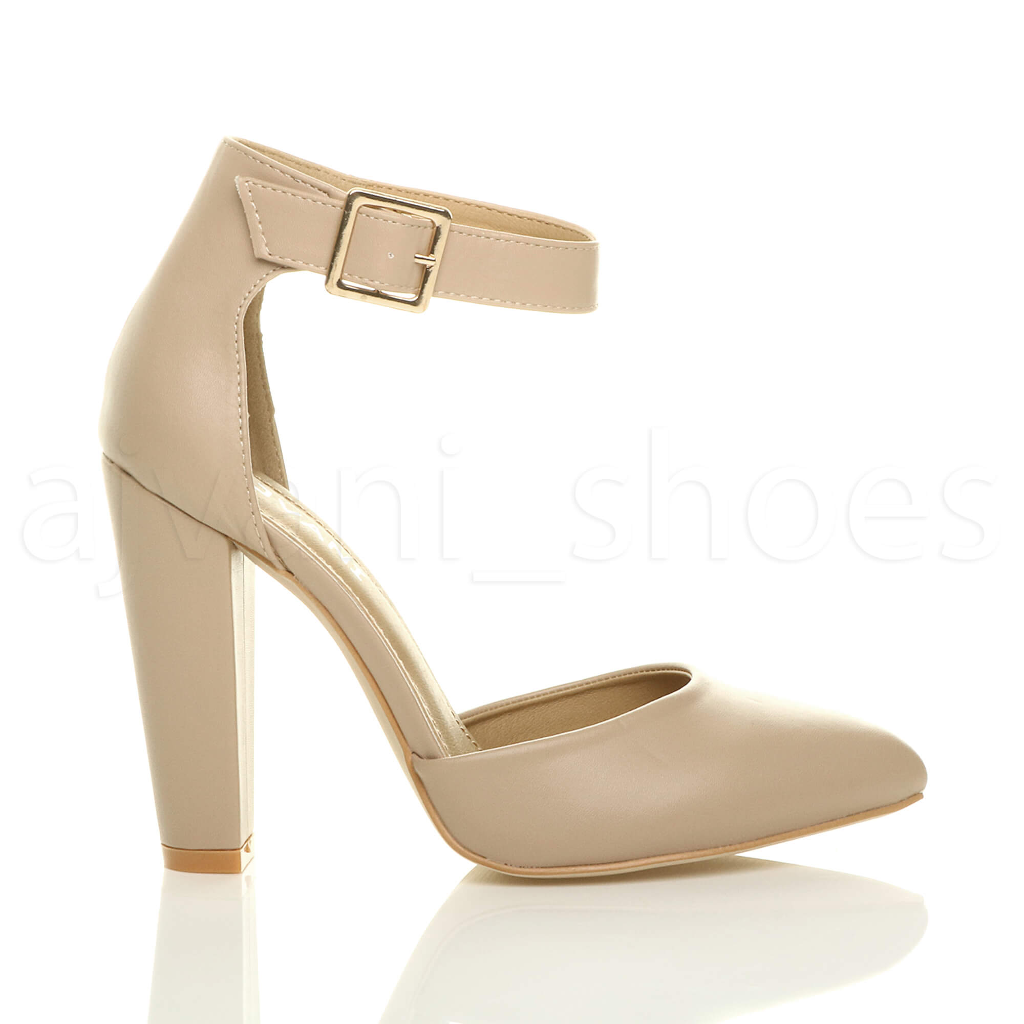 WOMENS-LADIES-HIGH-BLOCK-HEEL-ANKLE-STRAP-BUCKLE-POINTED-COURT-SHOES-SIZE thumbnail 80