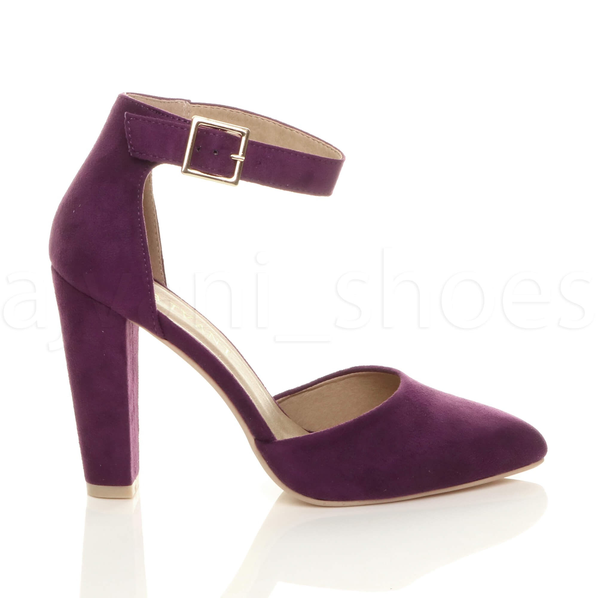 WOMENS-LADIES-HIGH-BLOCK-HEEL-ANKLE-STRAP-BUCKLE-POINTED-COURT-SHOES-SIZE thumbnail 122