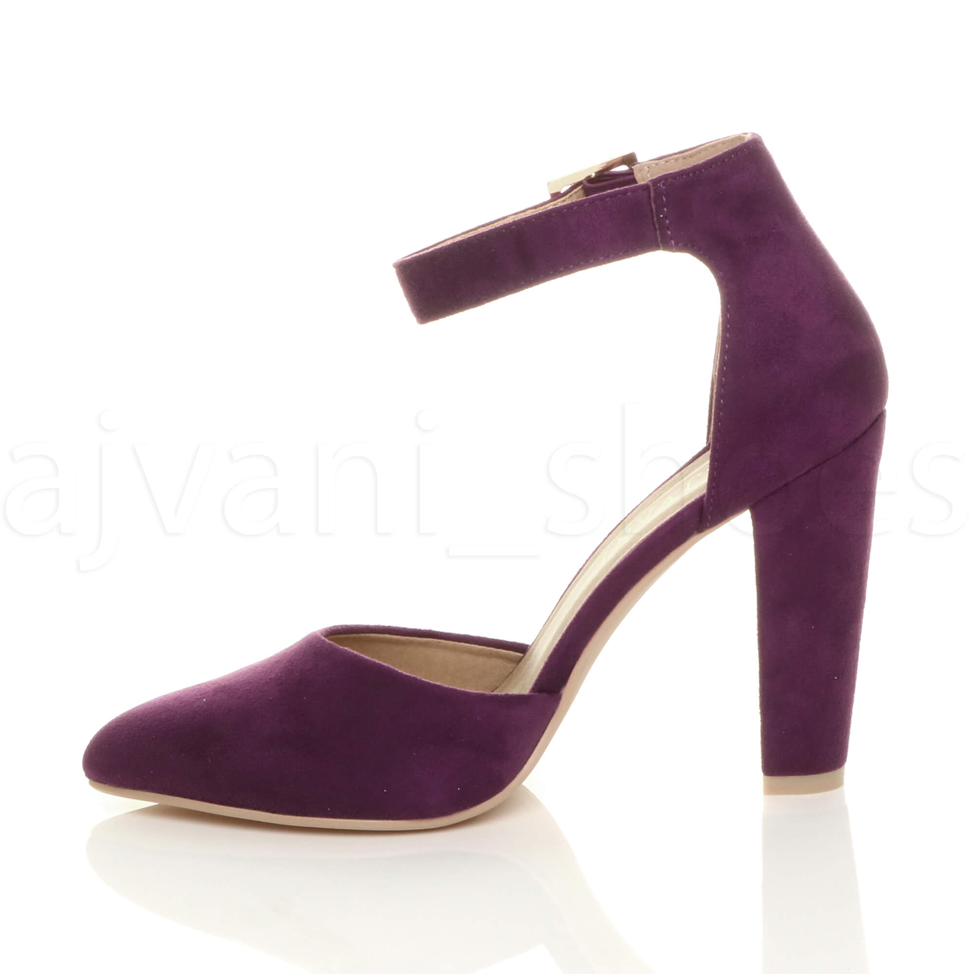 WOMENS-LADIES-HIGH-BLOCK-HEEL-ANKLE-STRAP-BUCKLE-POINTED-COURT-SHOES-SIZE thumbnail 123