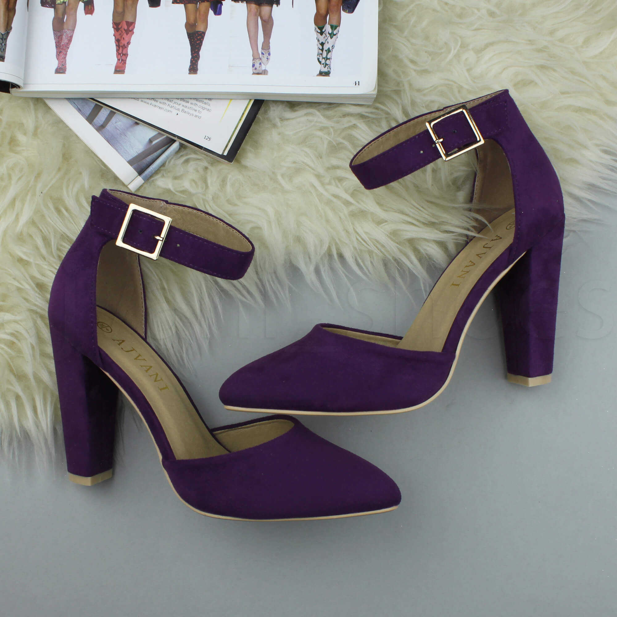 WOMENS-LADIES-HIGH-BLOCK-HEEL-ANKLE-STRAP-BUCKLE-POINTED-COURT-SHOES-SIZE thumbnail 124