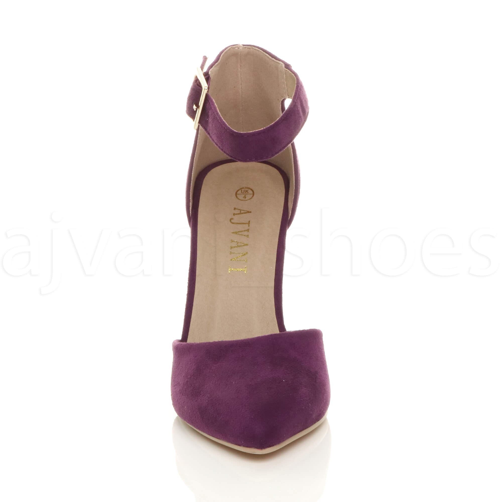 WOMENS-LADIES-HIGH-BLOCK-HEEL-ANKLE-STRAP-BUCKLE-POINTED-COURT-SHOES-SIZE thumbnail 125