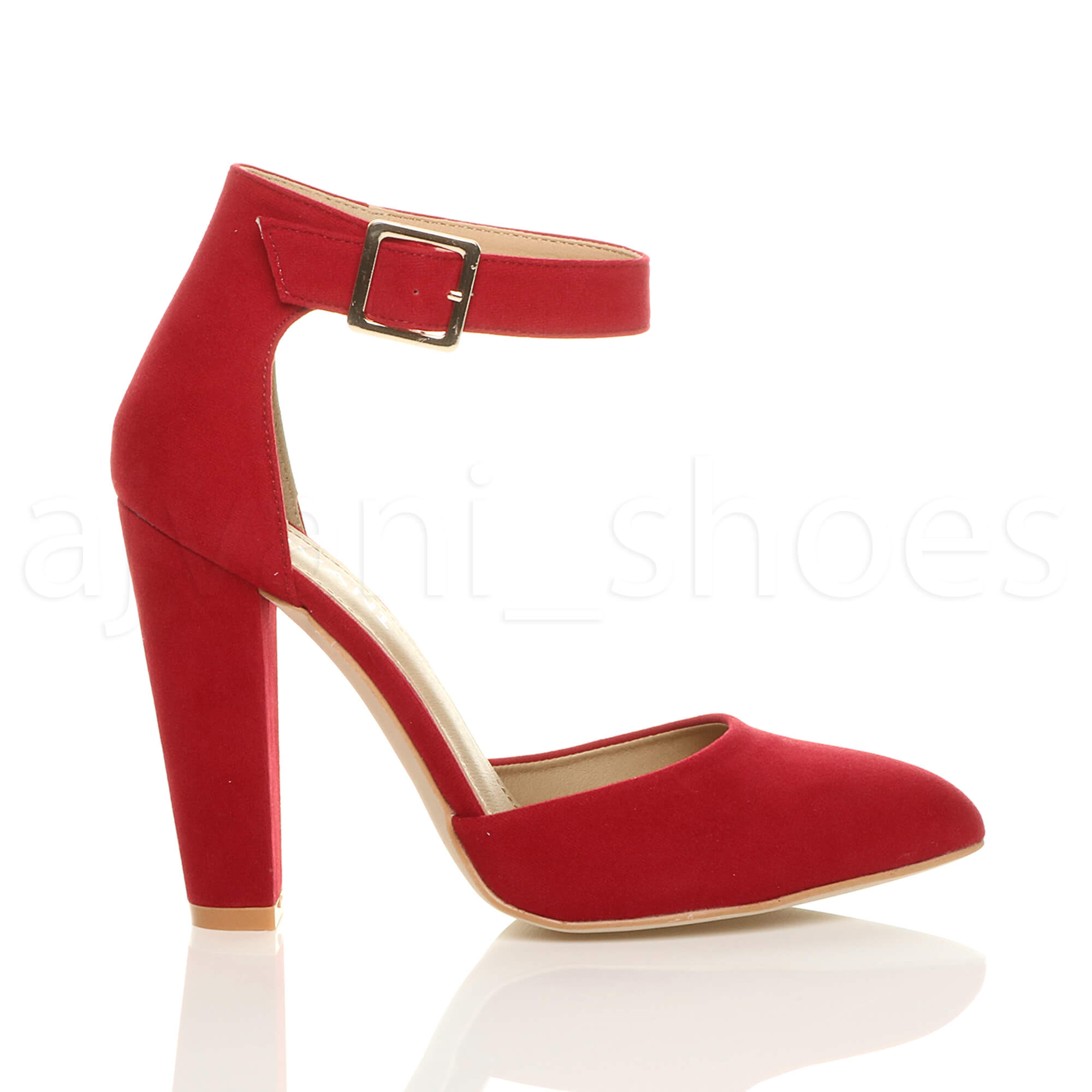 WOMENS-LADIES-HIGH-BLOCK-HEEL-ANKLE-STRAP-BUCKLE-POINTED-COURT-SHOES-SIZE thumbnail 101