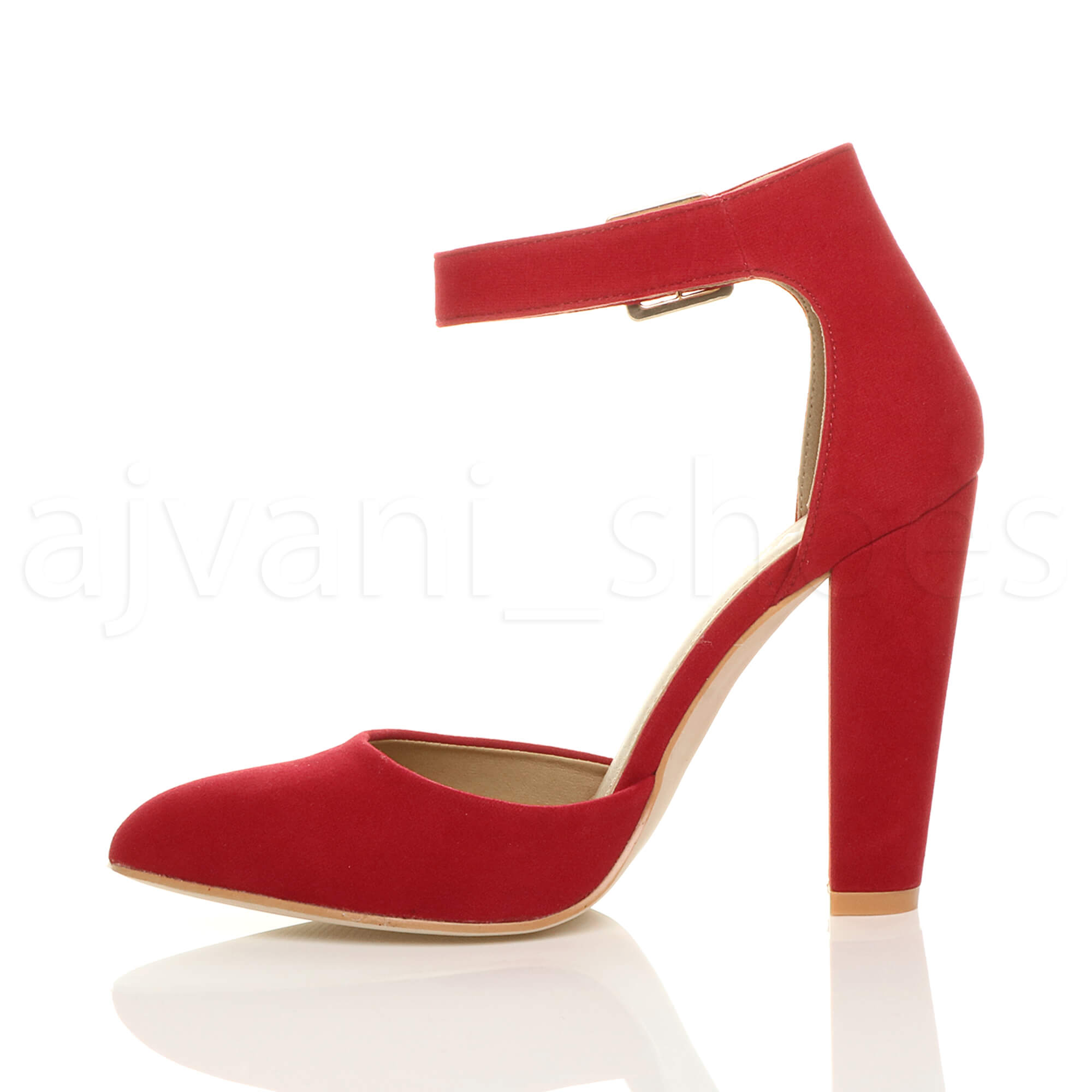 WOMENS-LADIES-HIGH-BLOCK-HEEL-ANKLE-STRAP-BUCKLE-POINTED-COURT-SHOES-SIZE thumbnail 102