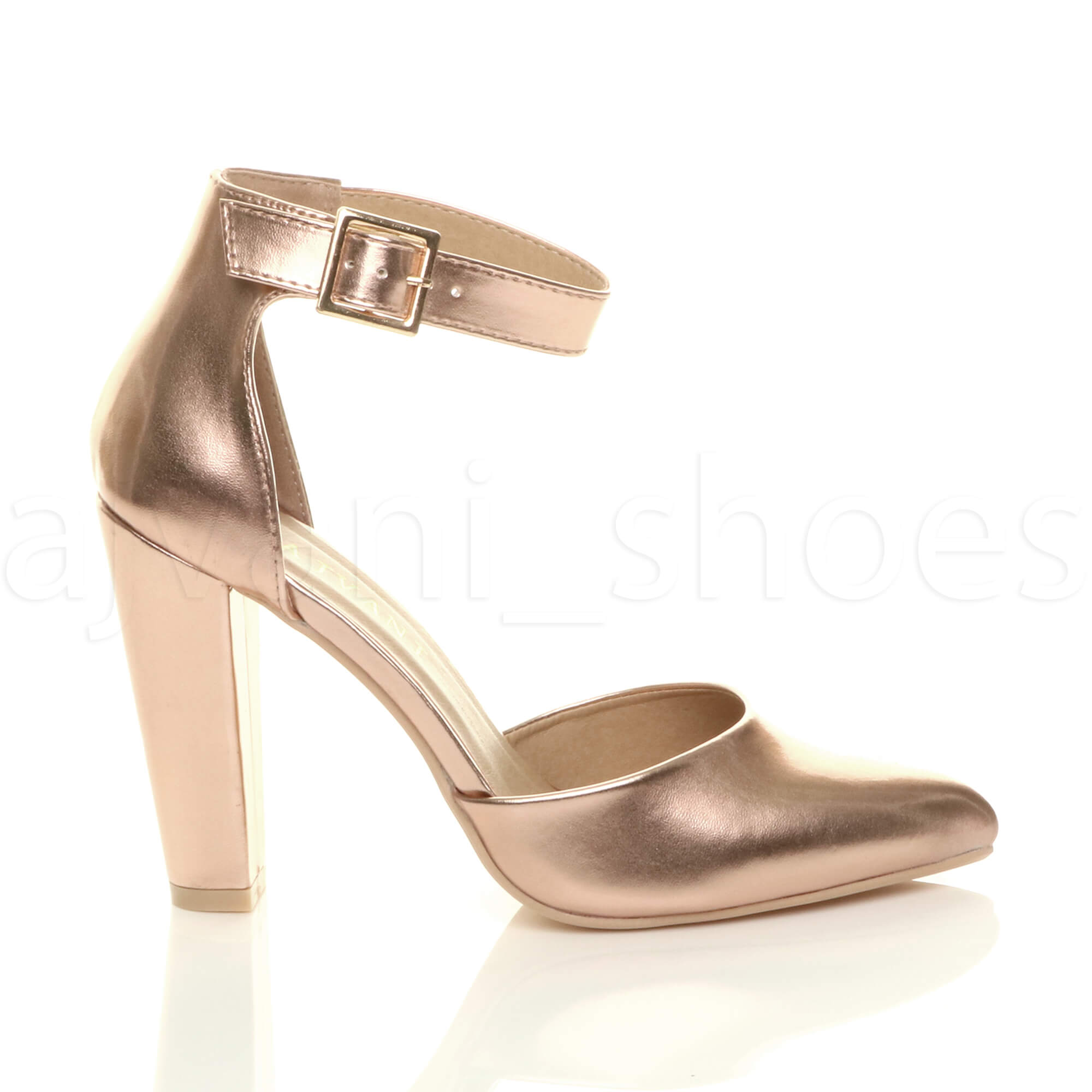 WOMENS-LADIES-HIGH-BLOCK-HEEL-ANKLE-STRAP-BUCKLE-POINTED-COURT-SHOES-SIZE thumbnail 143