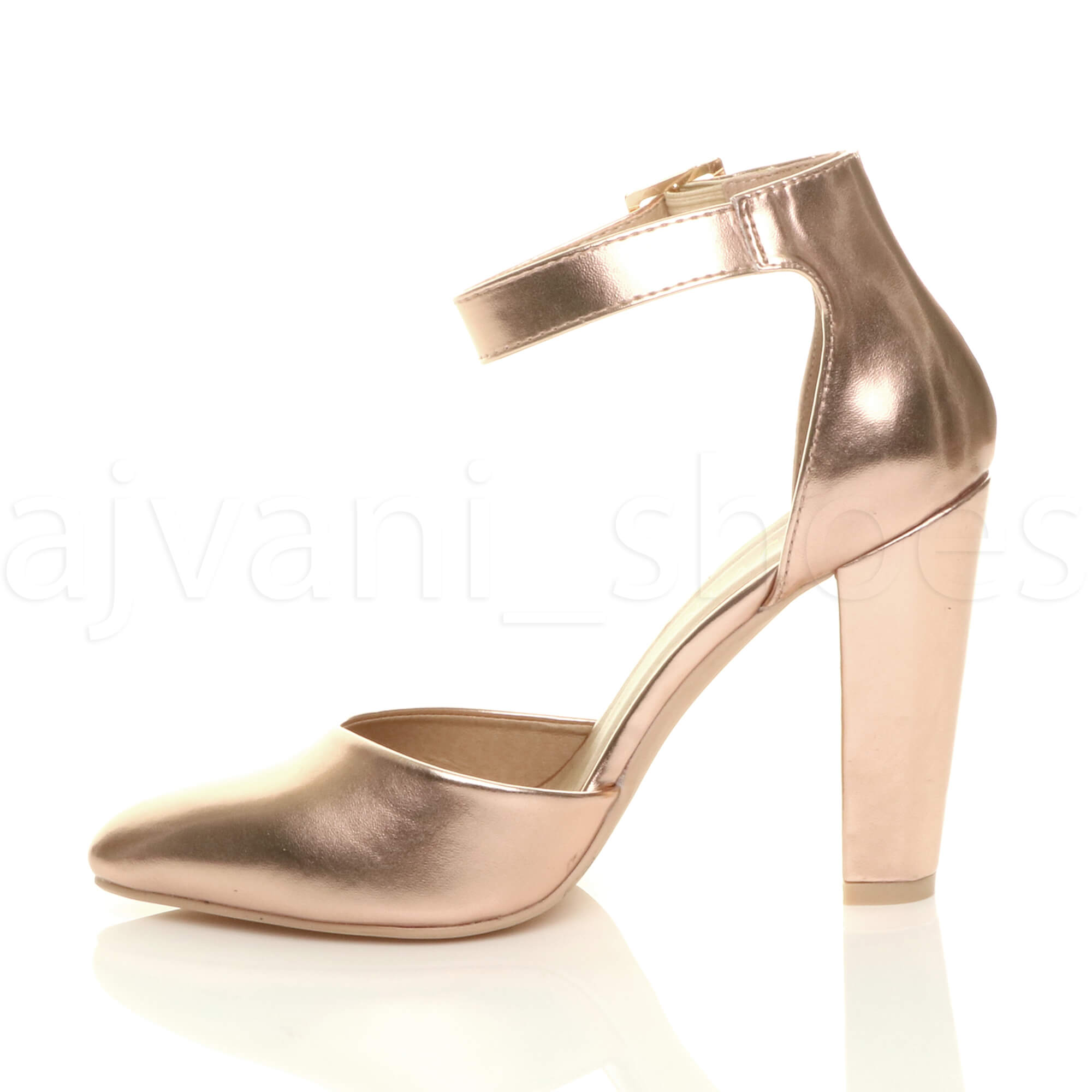 WOMENS-LADIES-HIGH-BLOCK-HEEL-ANKLE-STRAP-BUCKLE-POINTED-COURT-SHOES-SIZE thumbnail 144