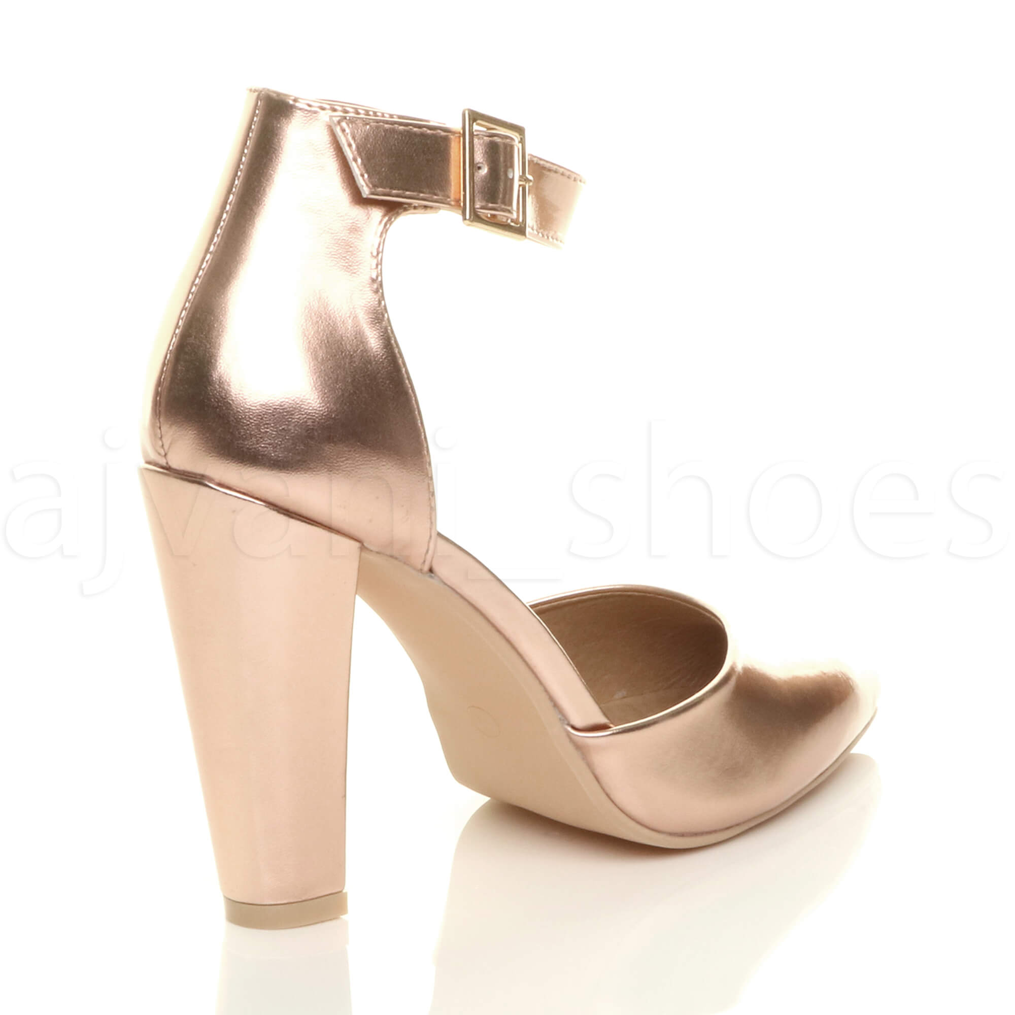 WOMENS-LADIES-HIGH-BLOCK-HEEL-ANKLE-STRAP-BUCKLE-POINTED-COURT-SHOES-SIZE thumbnail 145