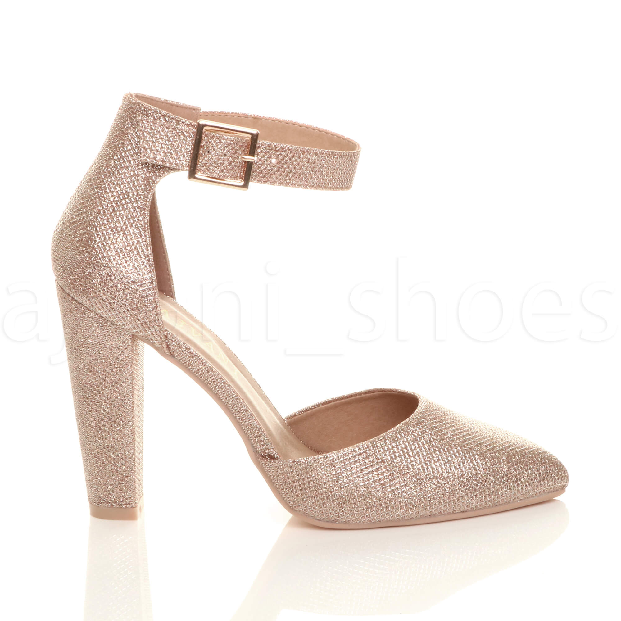 WOMENS-LADIES-HIGH-BLOCK-HEEL-ANKLE-STRAP-BUCKLE-POINTED-COURT-SHOES-SIZE thumbnail 150