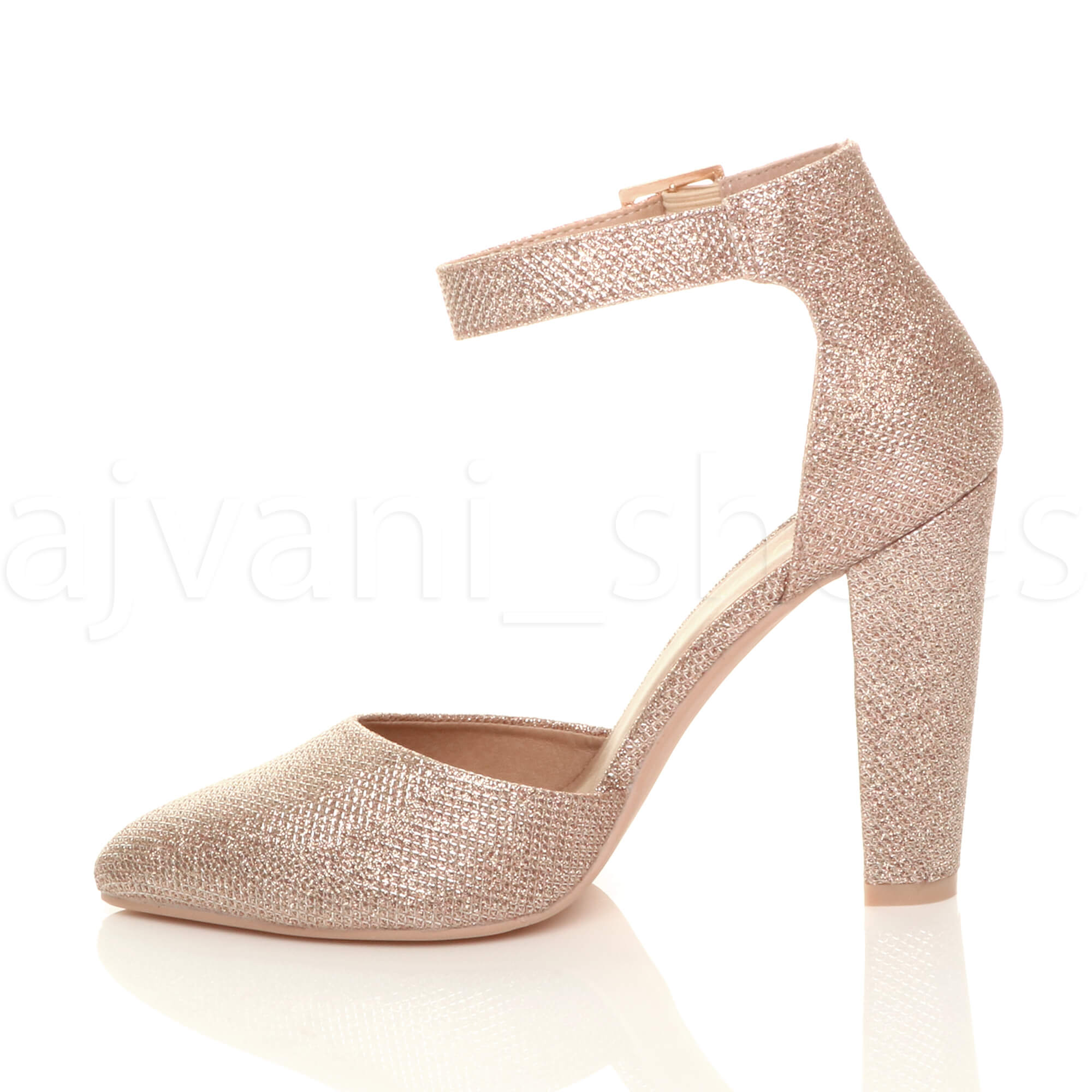 WOMENS-LADIES-HIGH-BLOCK-HEEL-ANKLE-STRAP-BUCKLE-POINTED-COURT-SHOES-SIZE thumbnail 151