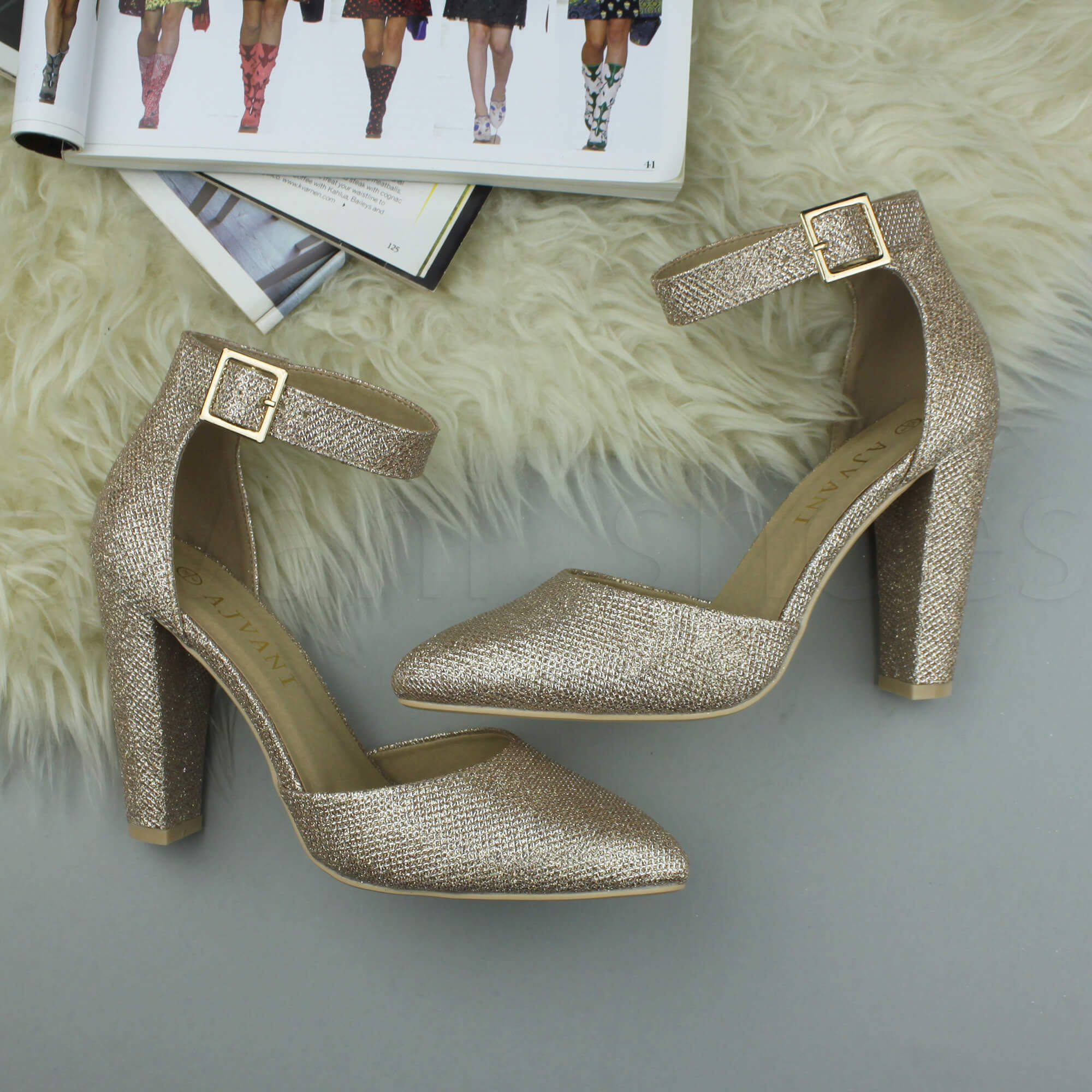 WOMENS-LADIES-HIGH-BLOCK-HEEL-ANKLE-STRAP-BUCKLE-POINTED-COURT-SHOES-SIZE thumbnail 152