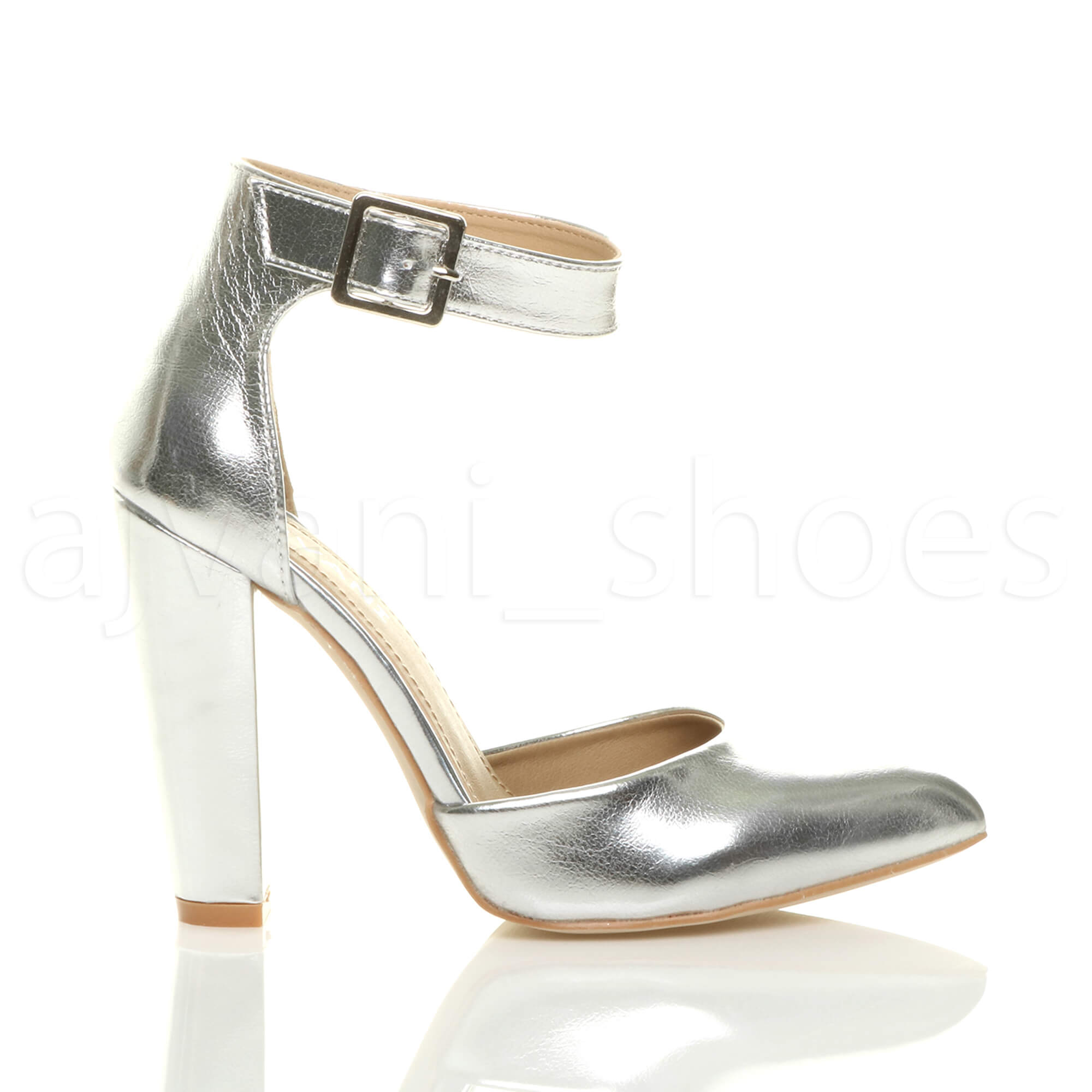 WOMENS-LADIES-HIGH-BLOCK-HEEL-ANKLE-STRAP-BUCKLE-POINTED-COURT-SHOES-SIZE thumbnail 115