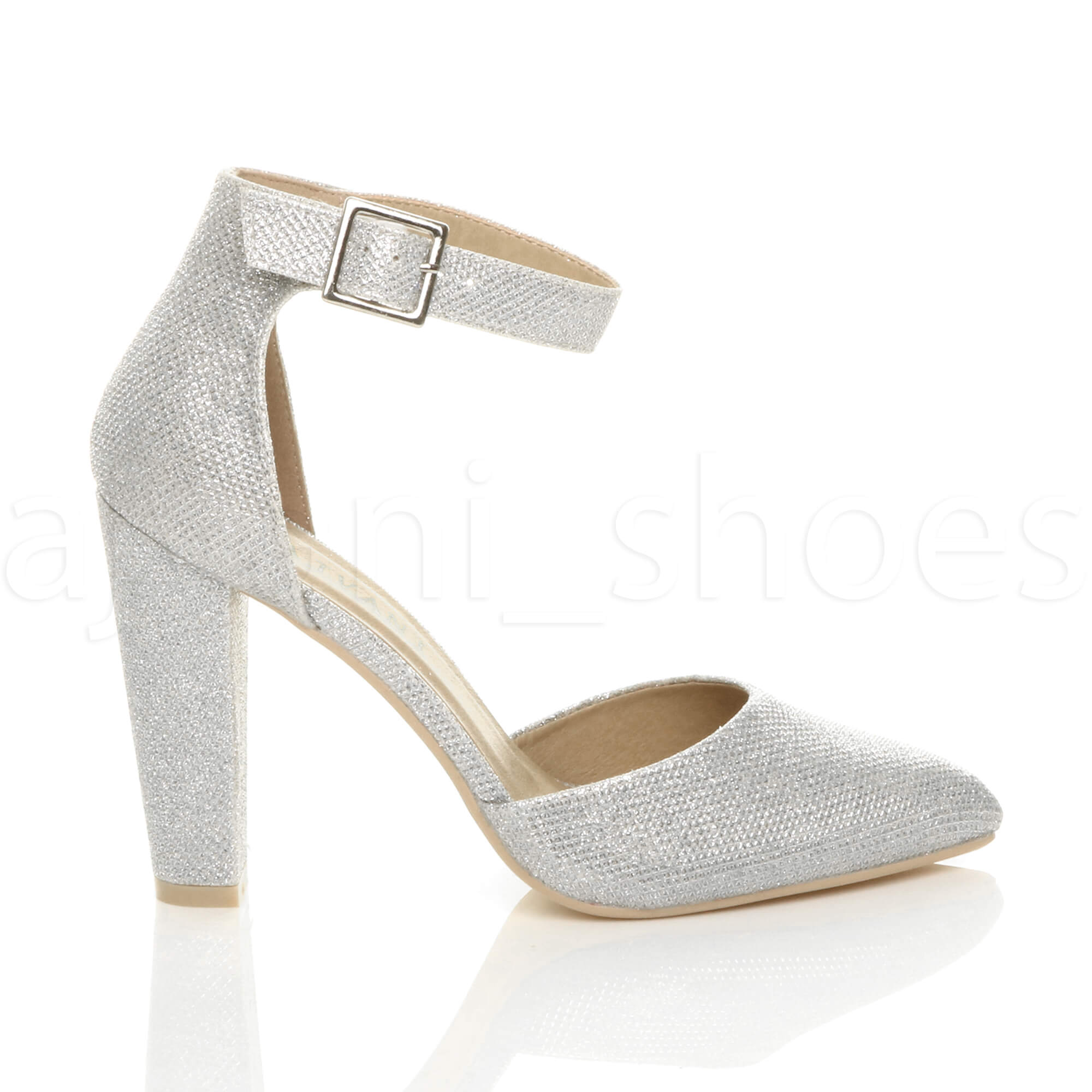 WOMENS-LADIES-HIGH-BLOCK-HEEL-ANKLE-STRAP-BUCKLE-POINTED-COURT-SHOES-SIZE thumbnail 178