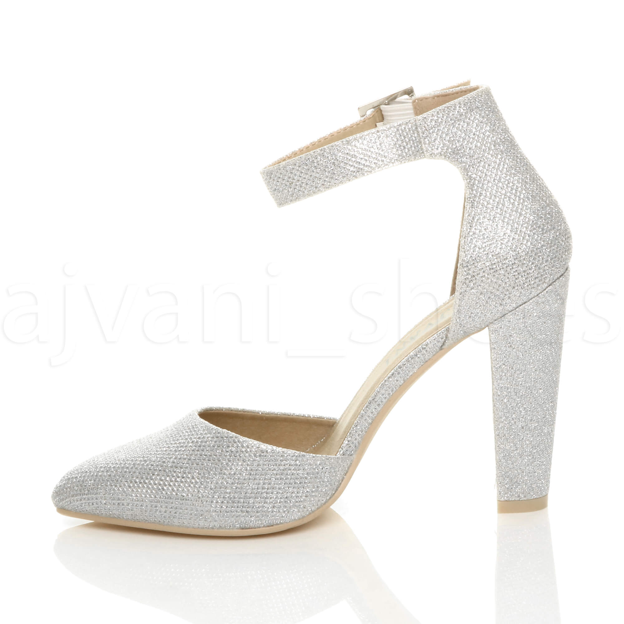 WOMENS-LADIES-HIGH-BLOCK-HEEL-ANKLE-STRAP-BUCKLE-POINTED-COURT-SHOES-SIZE thumbnail 179