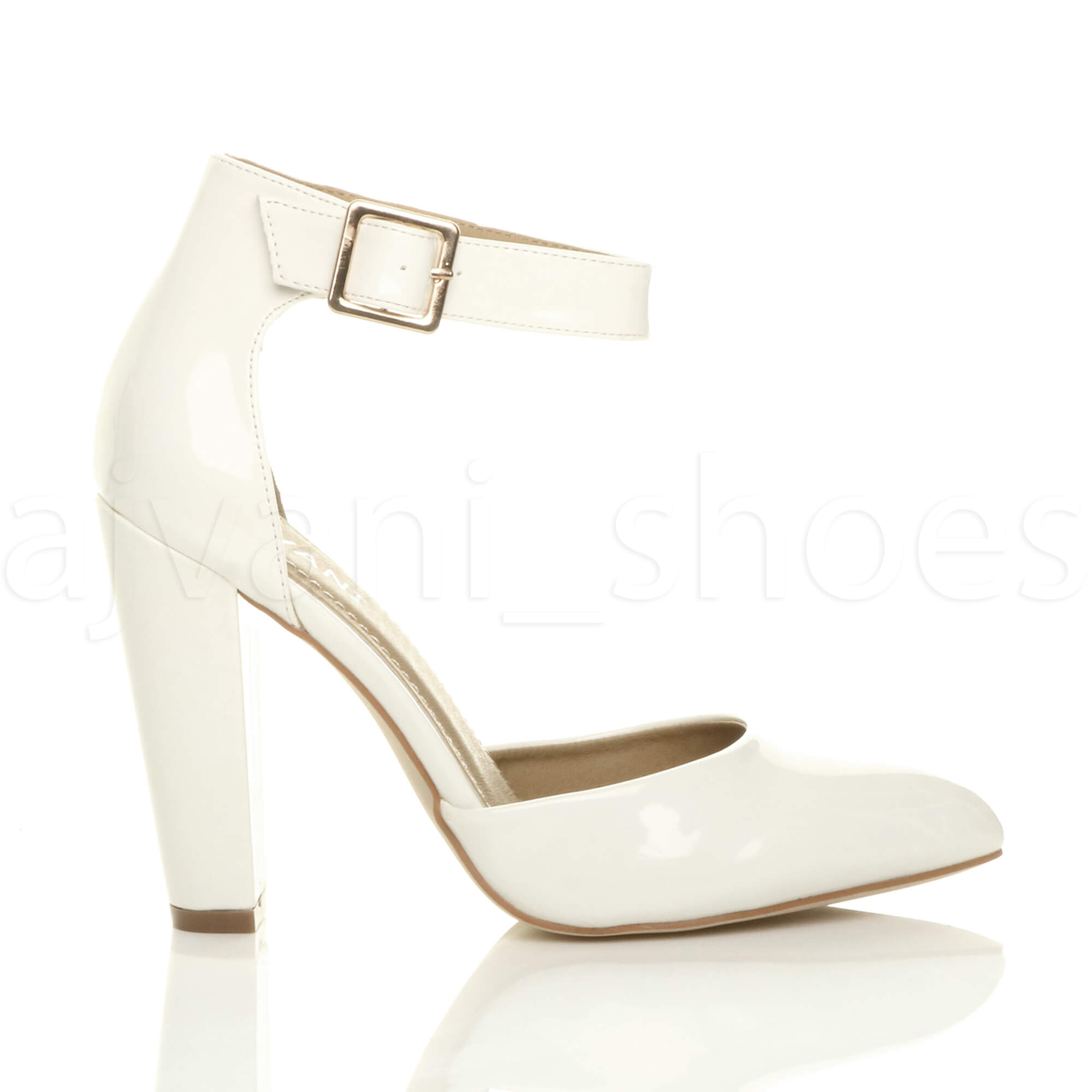 WOMENS-LADIES-HIGH-BLOCK-HEEL-ANKLE-STRAP-BUCKLE-POINTED-COURT-SHOES-SIZE thumbnail 129