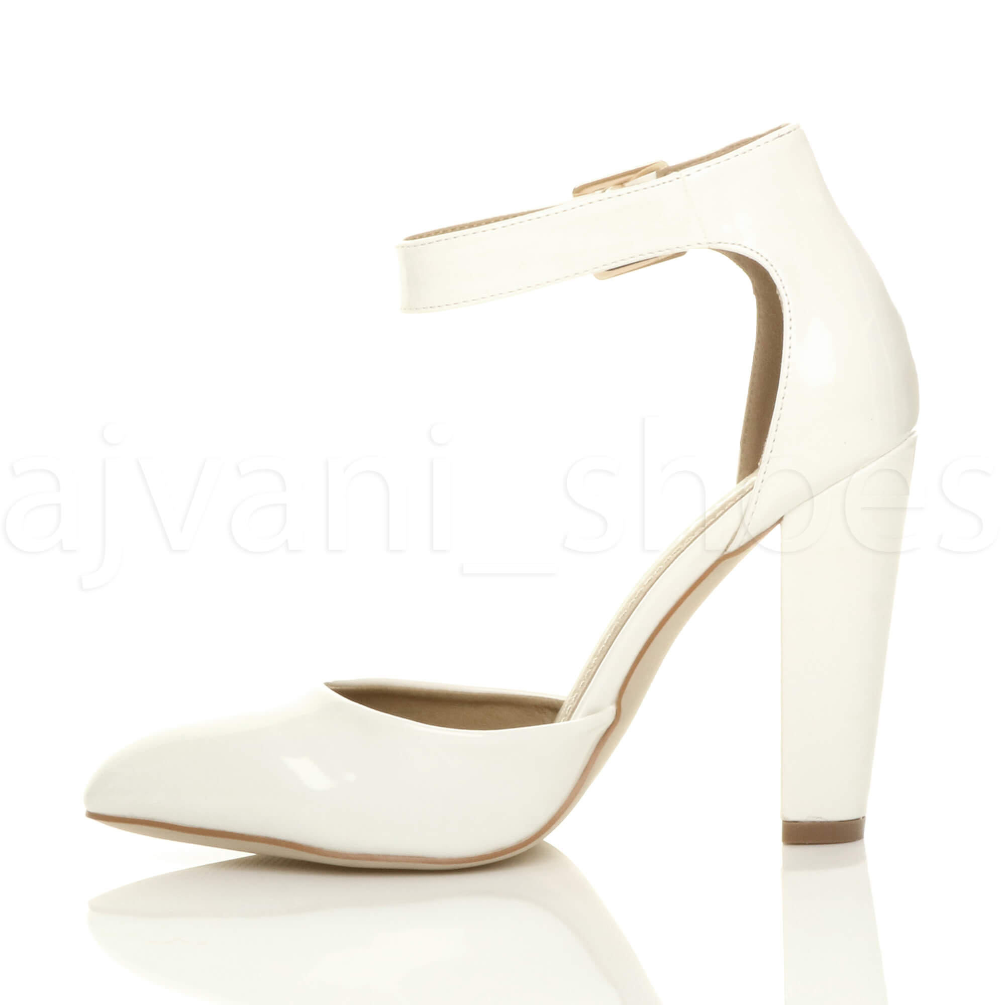WOMENS-LADIES-HIGH-BLOCK-HEEL-ANKLE-STRAP-BUCKLE-POINTED-COURT-SHOES-SIZE thumbnail 130