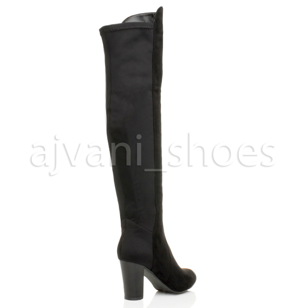 WOMENS-LADIES-BLOCK-HIGH-HEEL-FUR-LINED-OVER-THE-KNEE-STRETCH-RIDING-BOOTS-SIZE