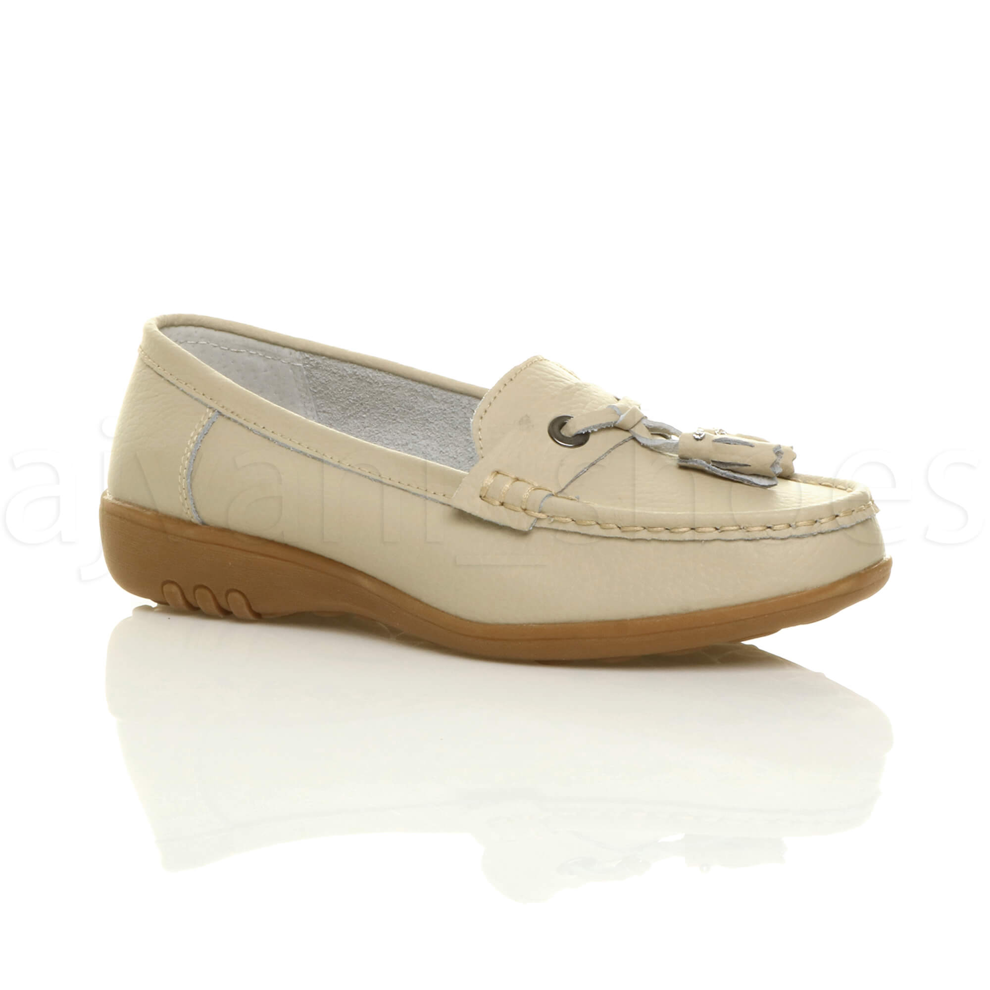 WOMENS-LADIES-LOW-HEEL-WEDGE-LEATHER-TASSEL-LOAFERS-COMFORT-MOCCASINS-SHOES-SIZE thumbnail 2